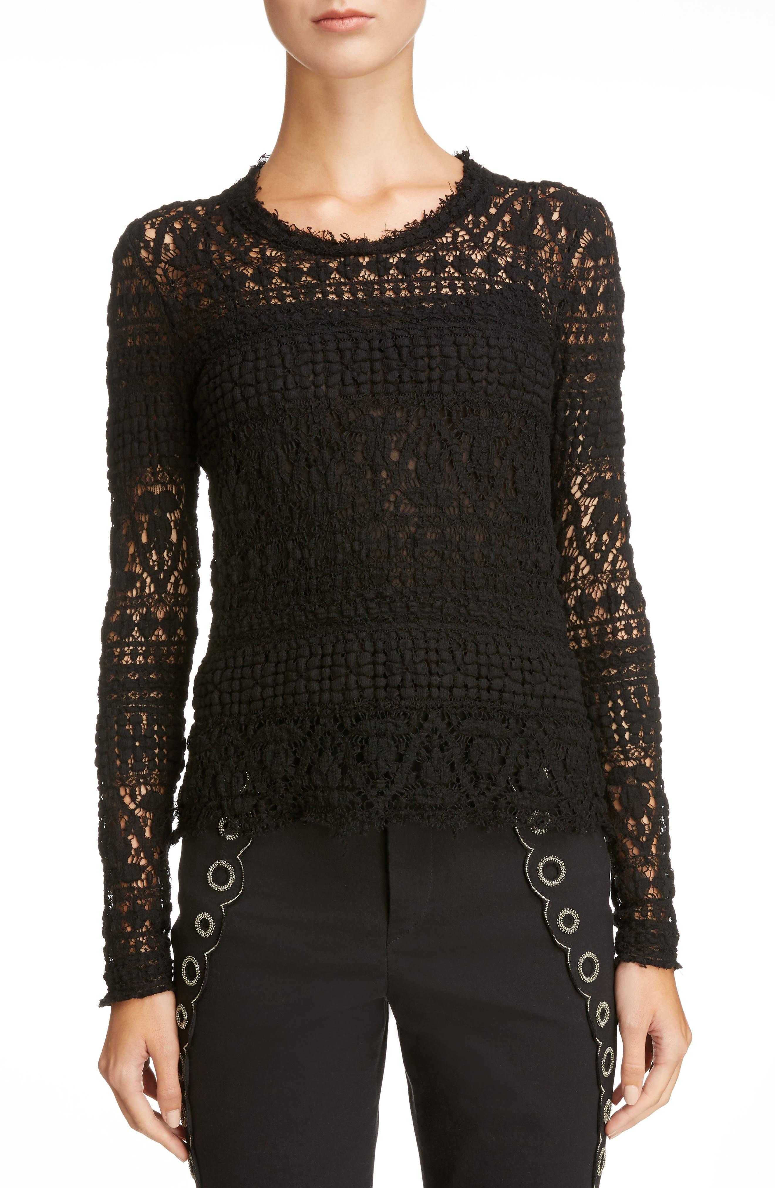 Stretch Lace Top,                         Main,                         color, Black