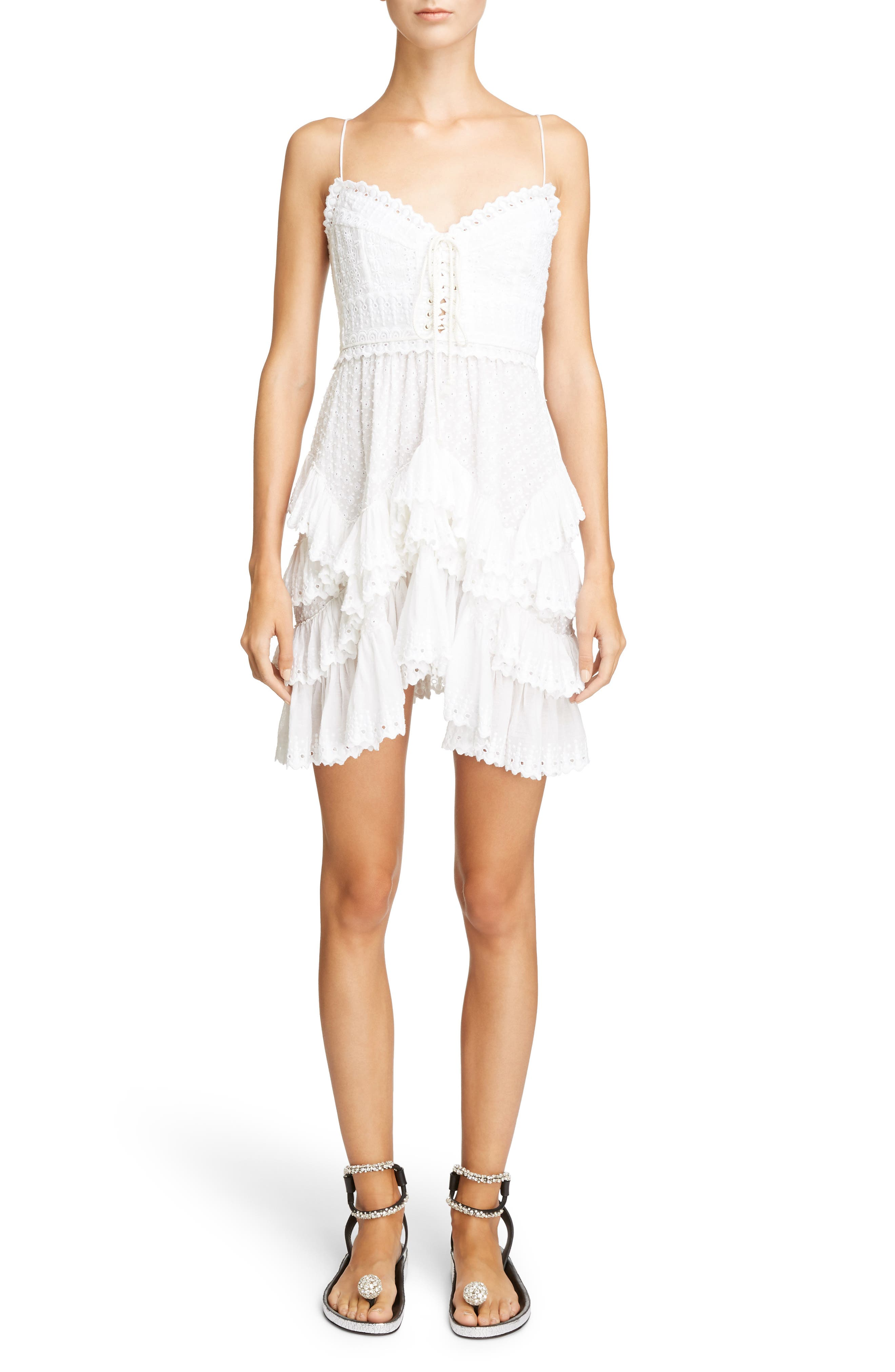 Ruffle Skirt Broderie Anglaise Dress,                         Main,                         color, White