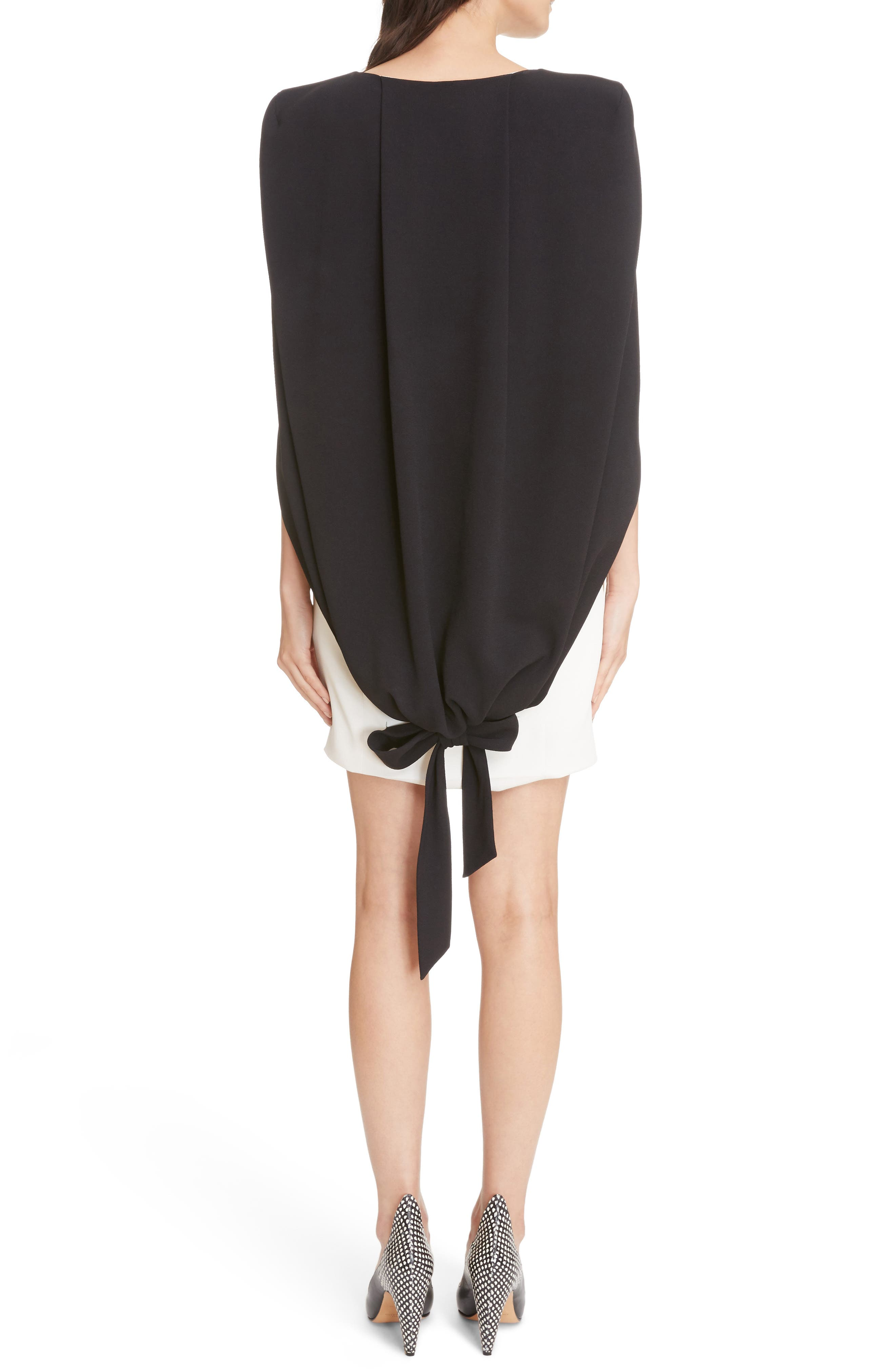 Colorblock Crepe Cape Dress,                             Alternate thumbnail 2, color,                             Ivory