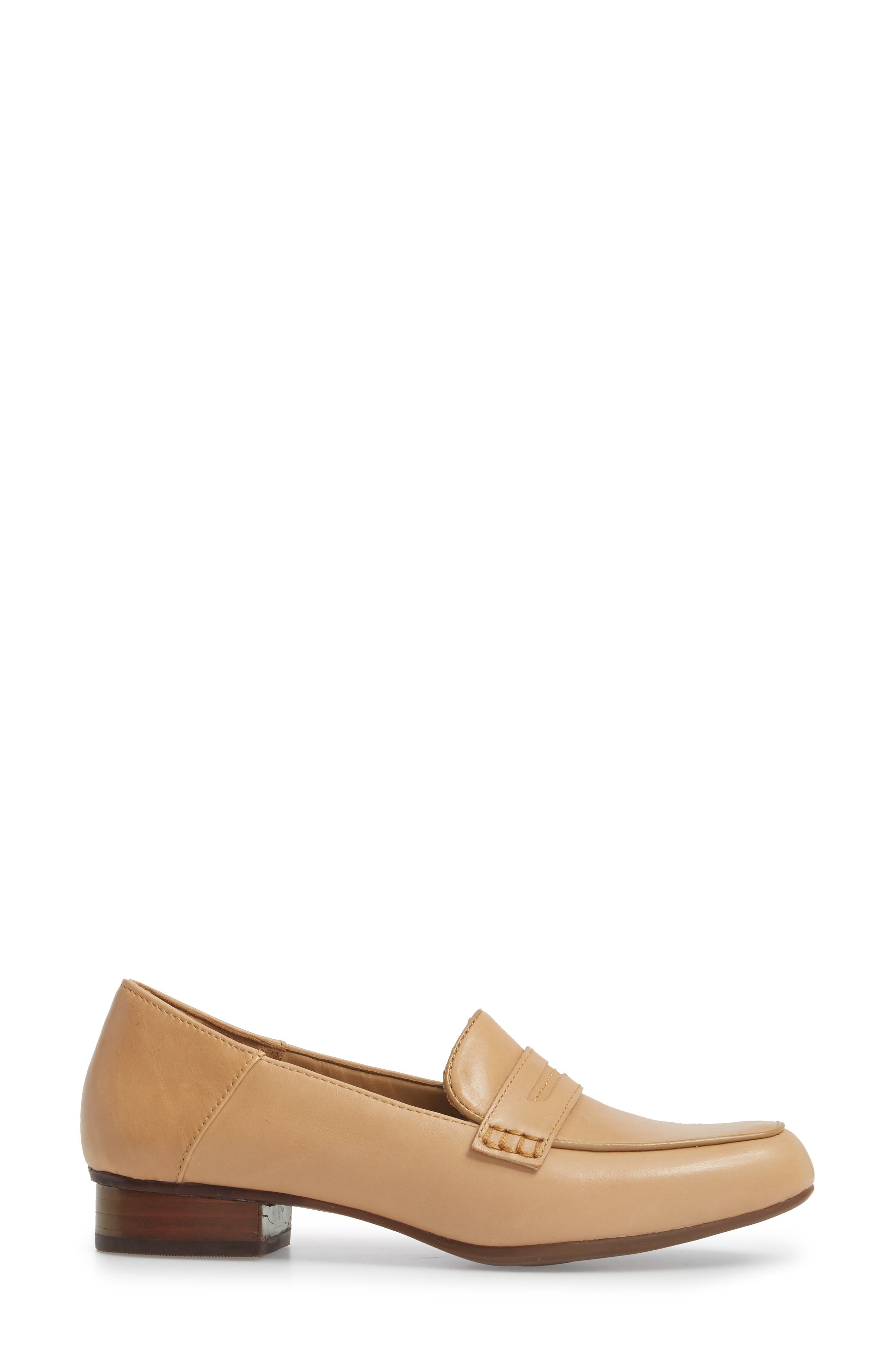 Keesha Cora Penny Loafer,                             Alternate thumbnail 3, color,                             Light Tan Leather