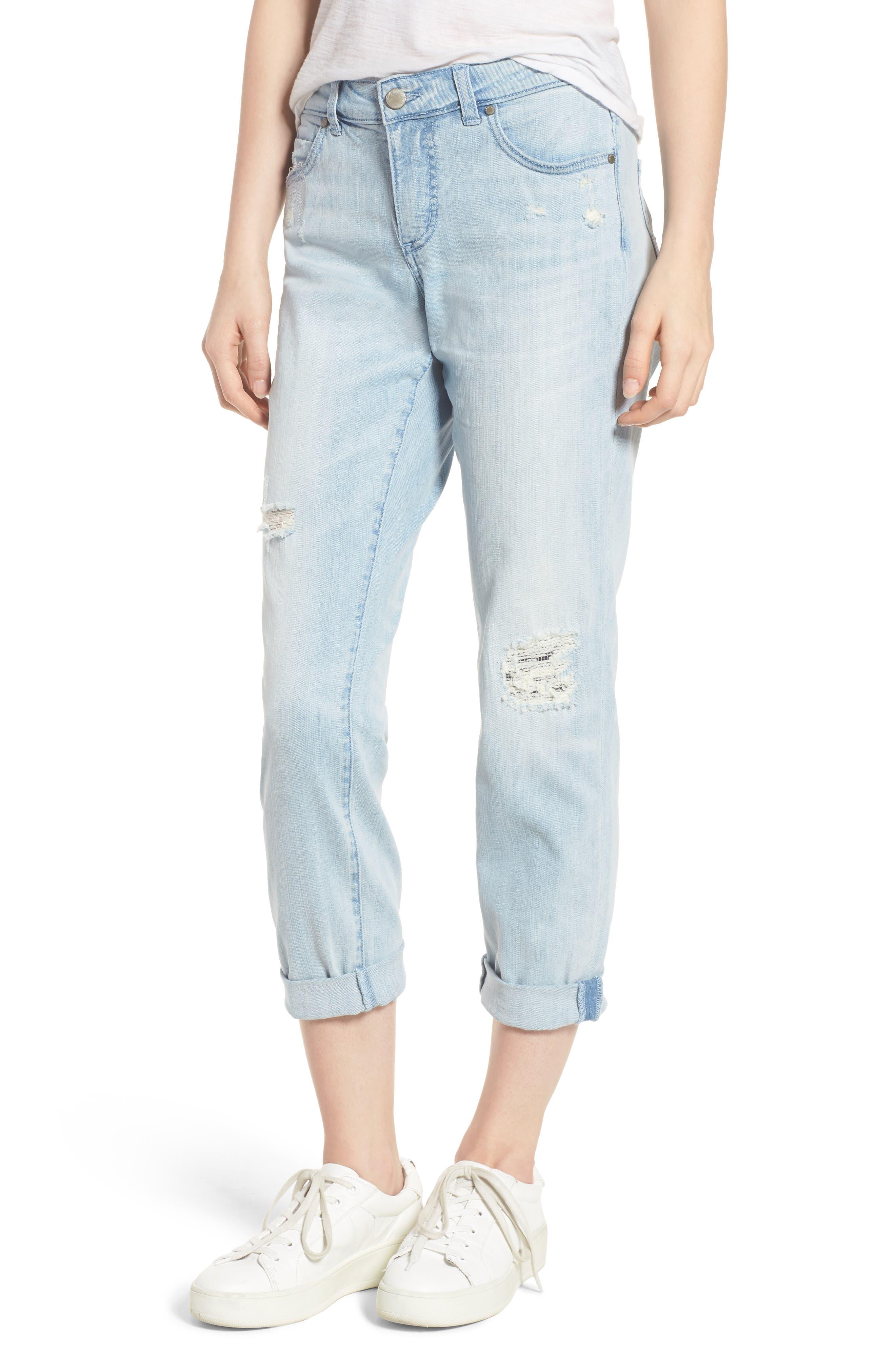 Distressed Boyfriend Jeans,                             Main thumbnail 1, color,                             Platinum Light Wash