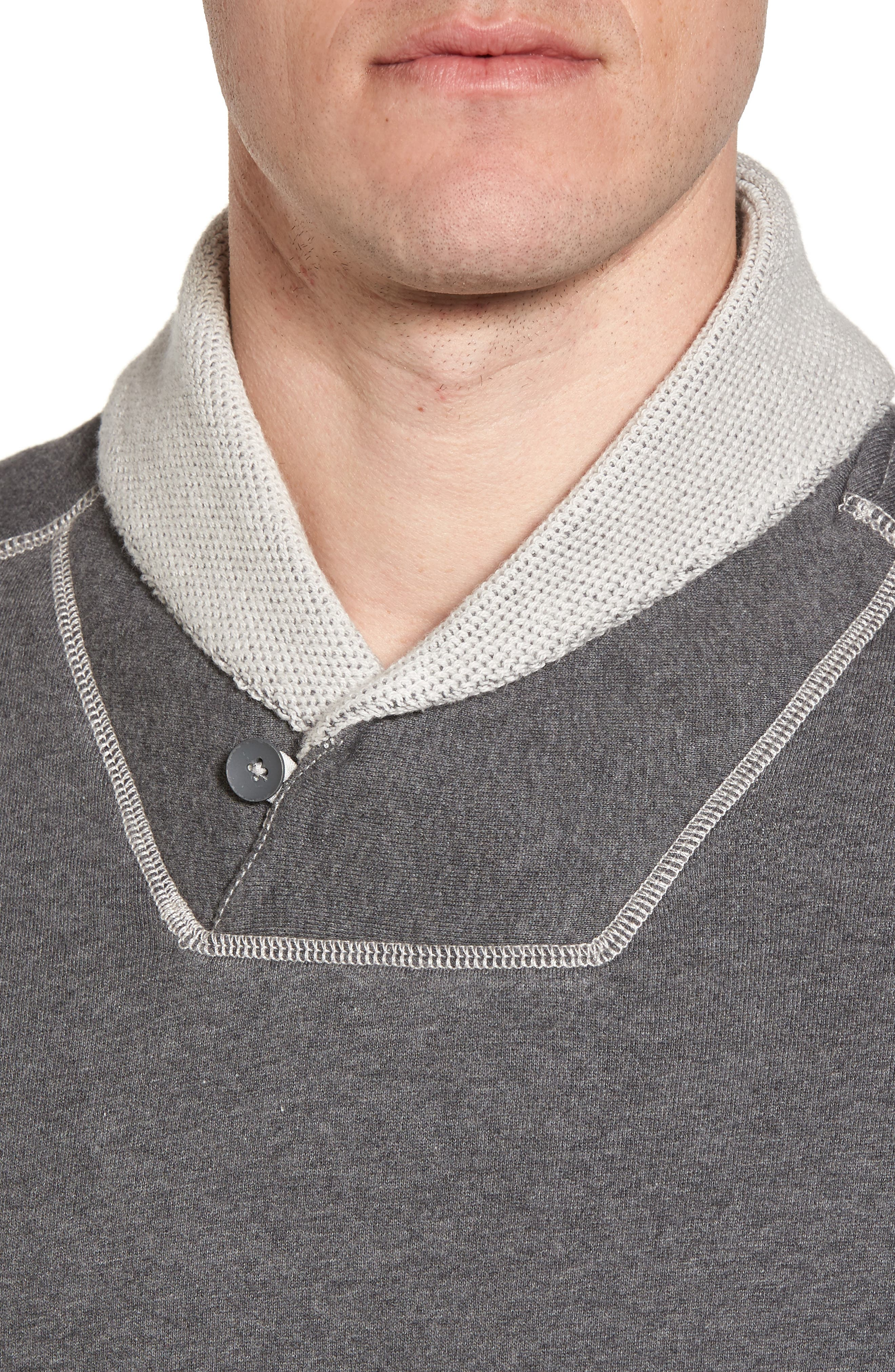 Shorecrest Shawl Collar Pullover,                             Alternate thumbnail 4, color,                             Charcoal Heather