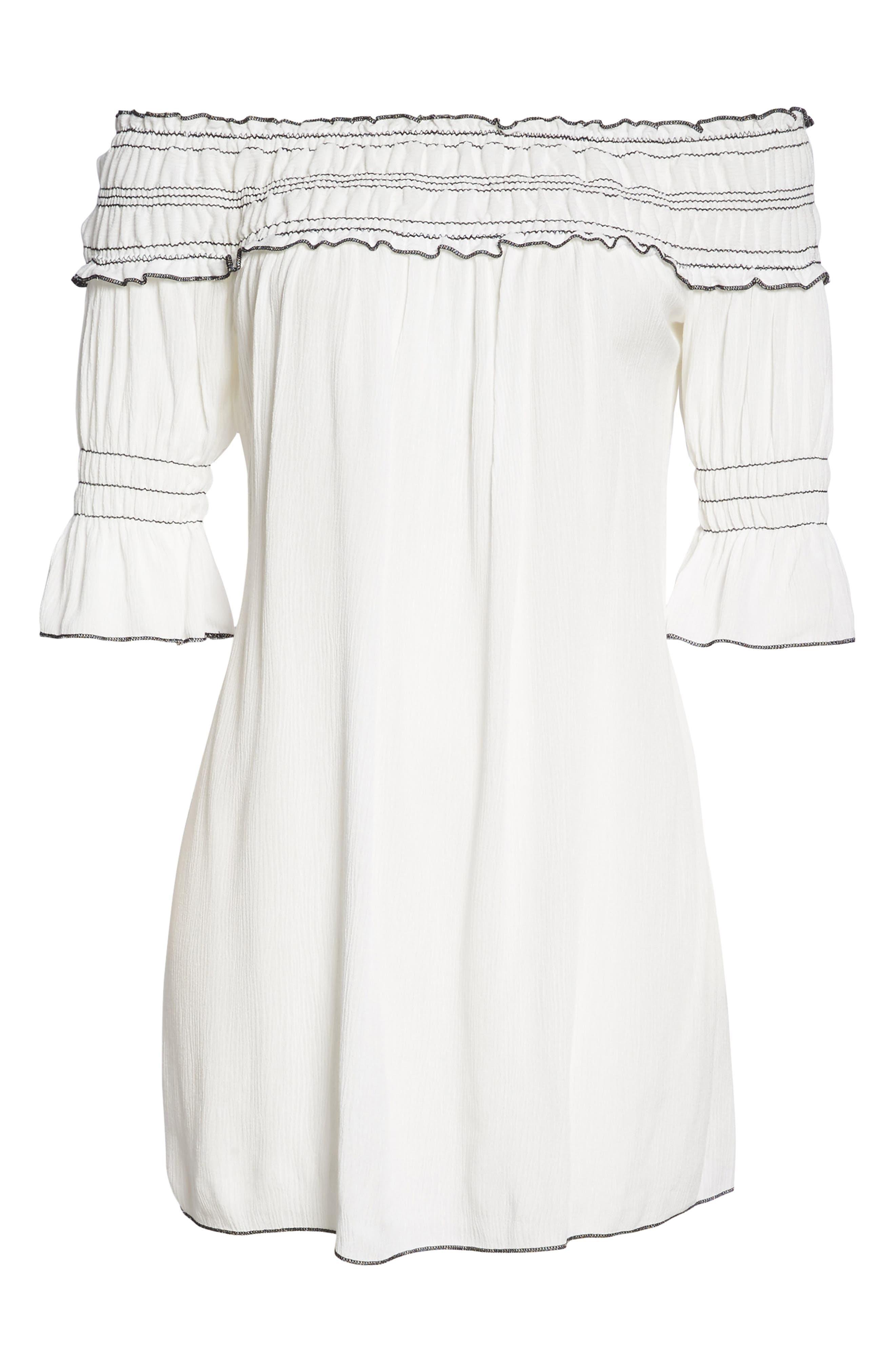 Nightingale Off the Shoulder Cover-Up Dress,                             Alternate thumbnail 6, color,                             White