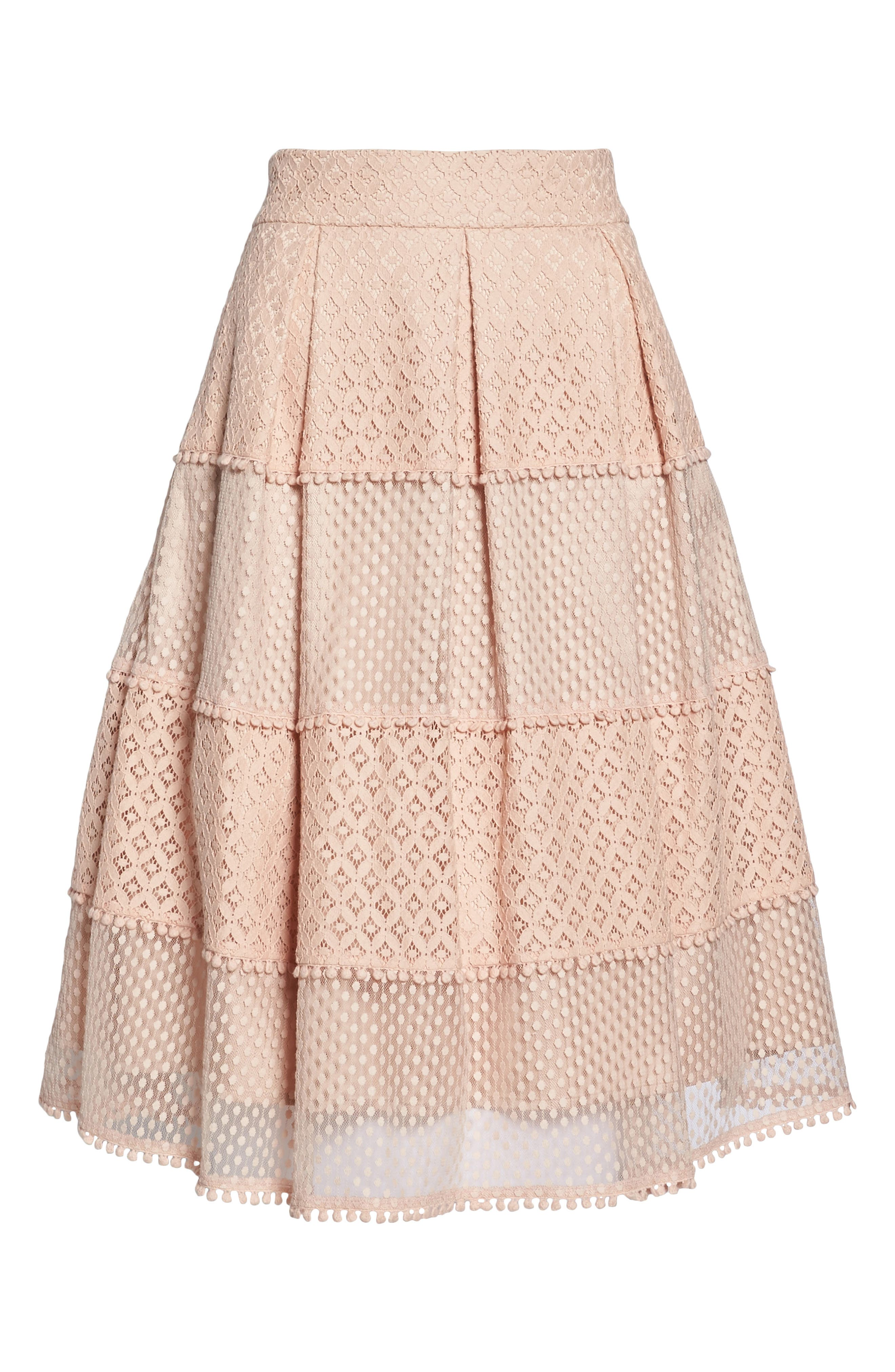 Banded Lace Midi Skirt,                             Alternate thumbnail 6, color,                             Blush