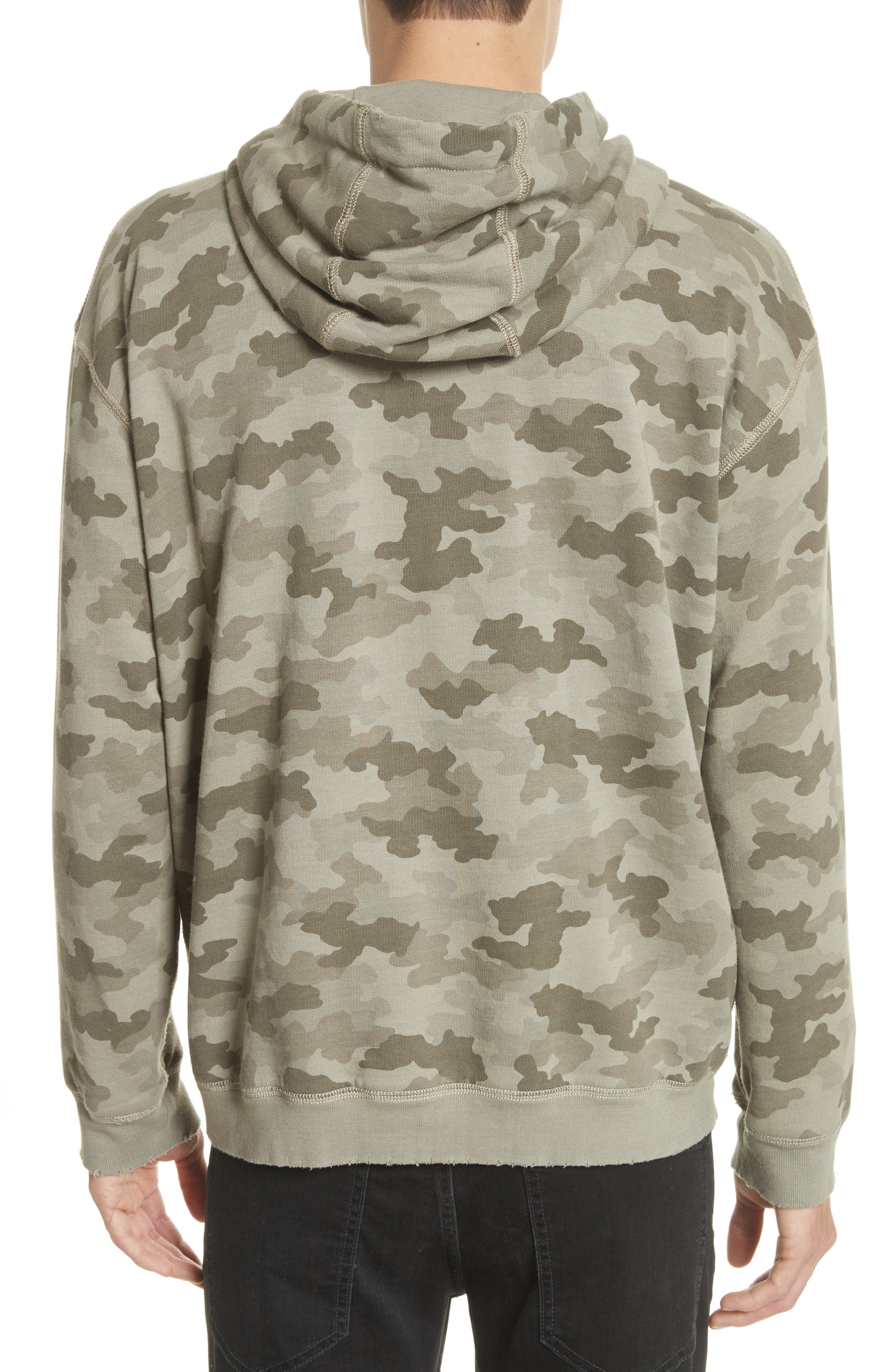 Camo French Terry Zip Hoodie,                             Alternate thumbnail 2, color,                             Sage Camo