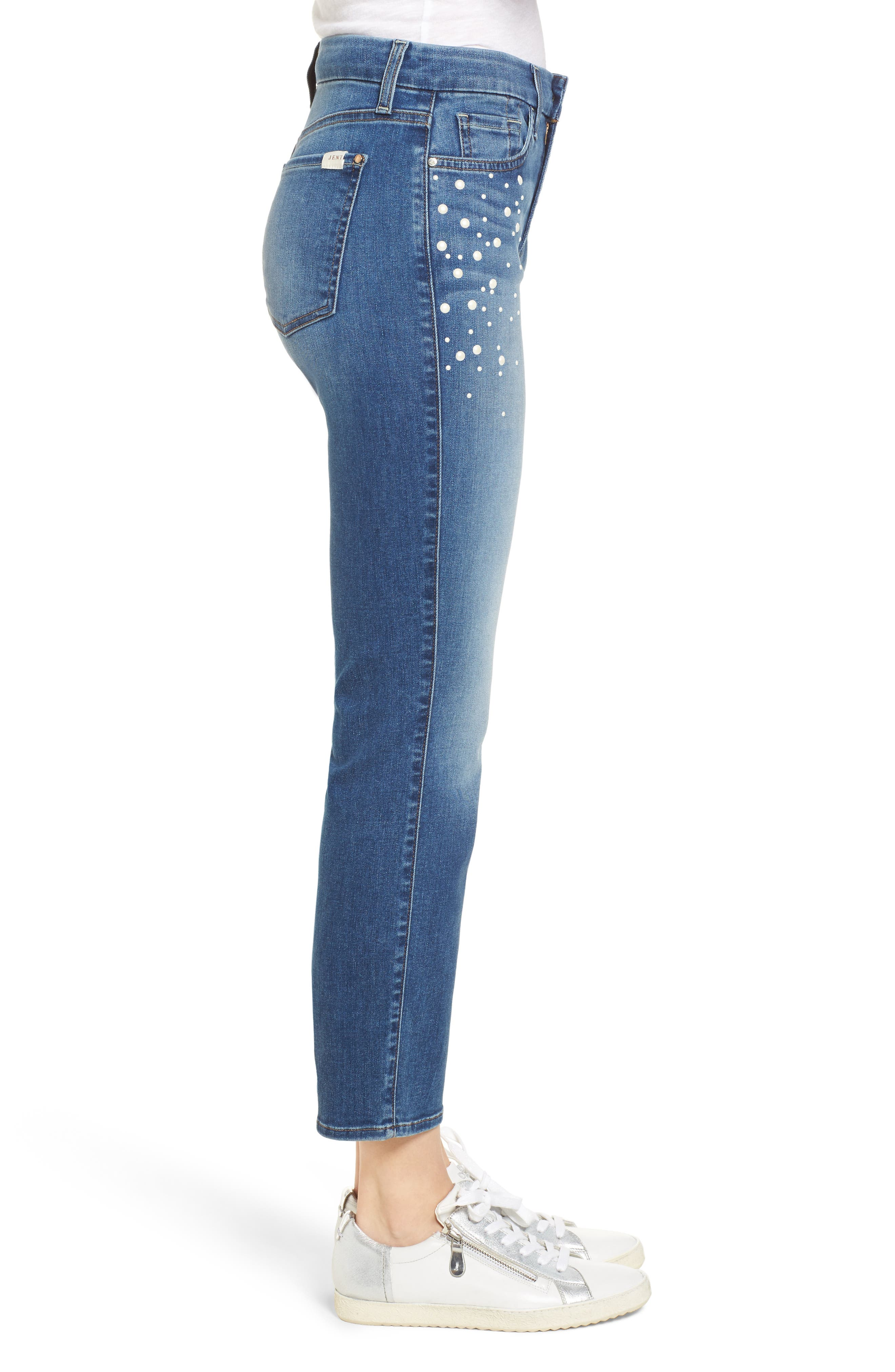 Pearl Embellished Crop Straight Leg Jeans,                             Alternate thumbnail 3, color,                             Garden City