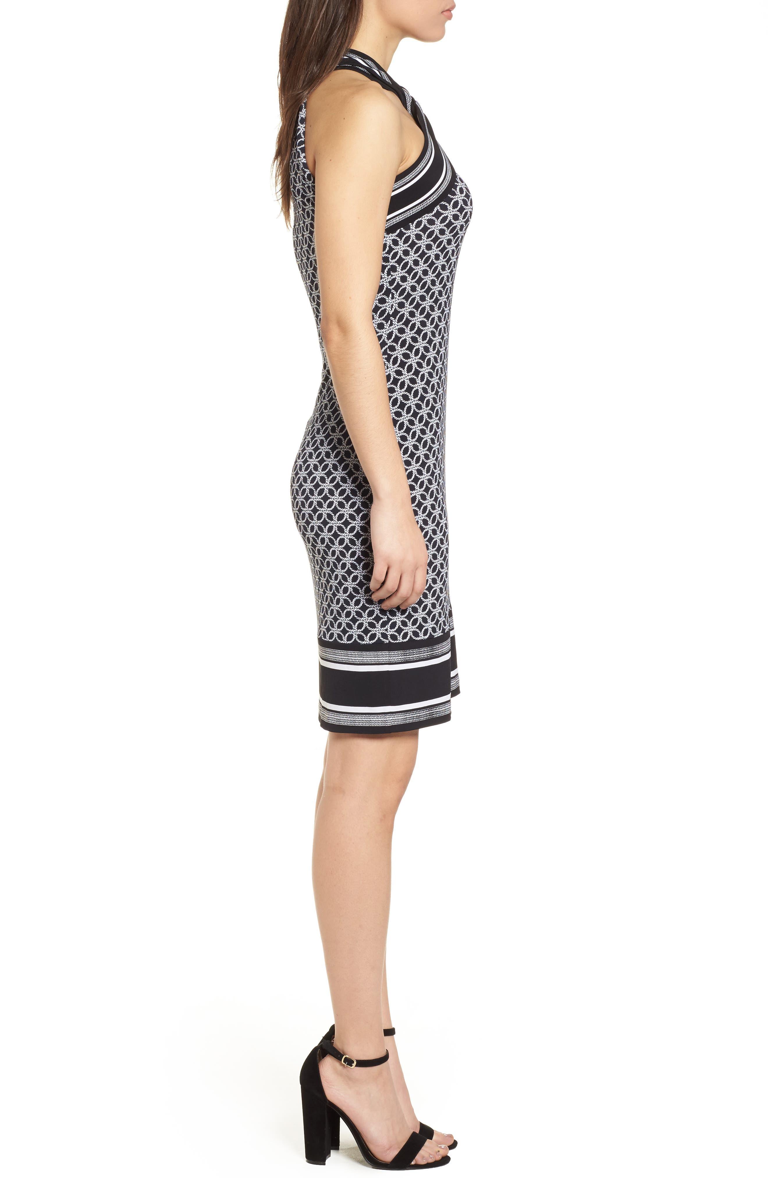Rope Twist Body-Con Dress,                             Alternate thumbnail 3, color,                             Black/ White