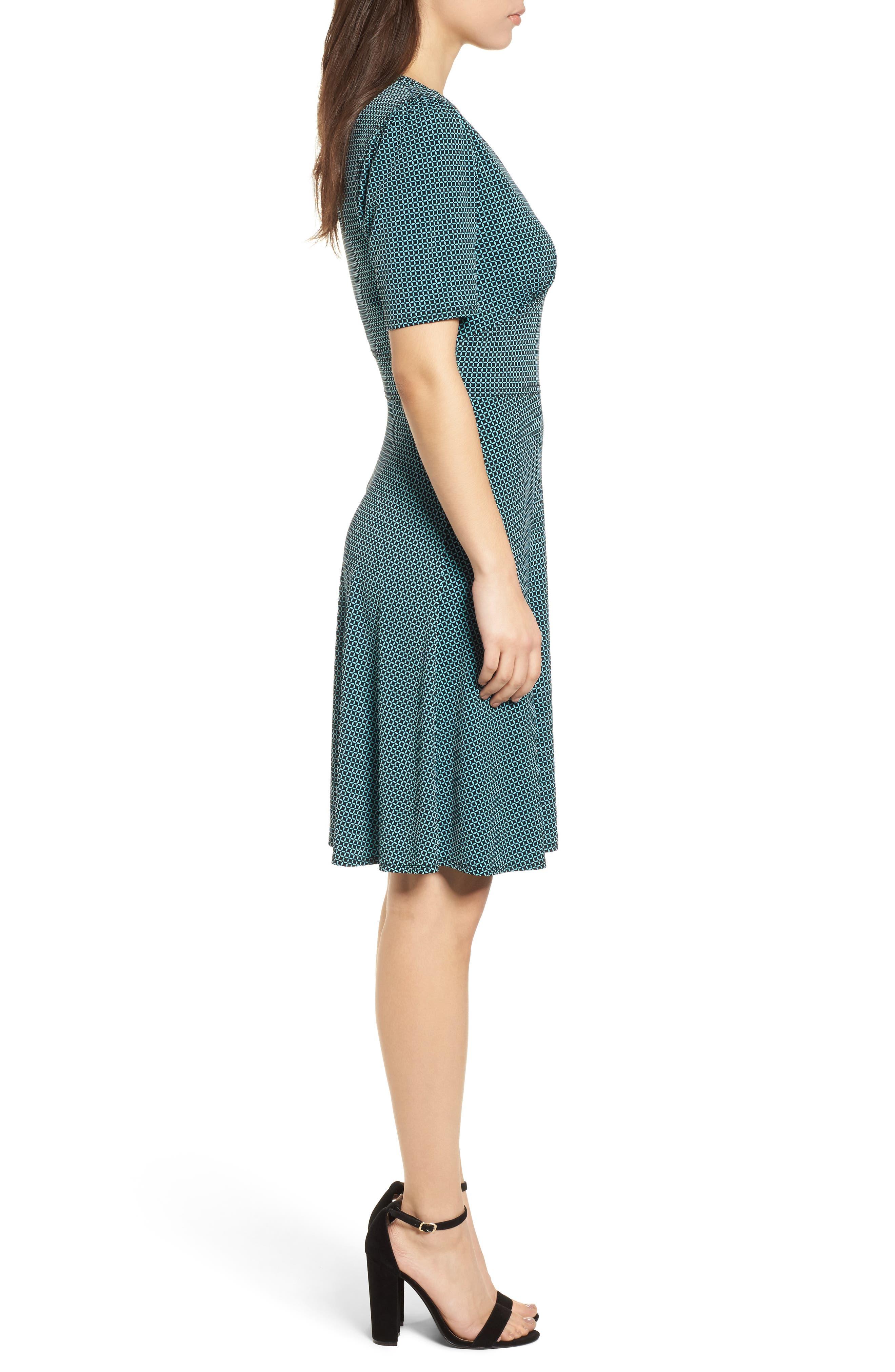 Mod Geo Fit & Flare Dress,                             Alternate thumbnail 3, color,                             Turquoise/ Black