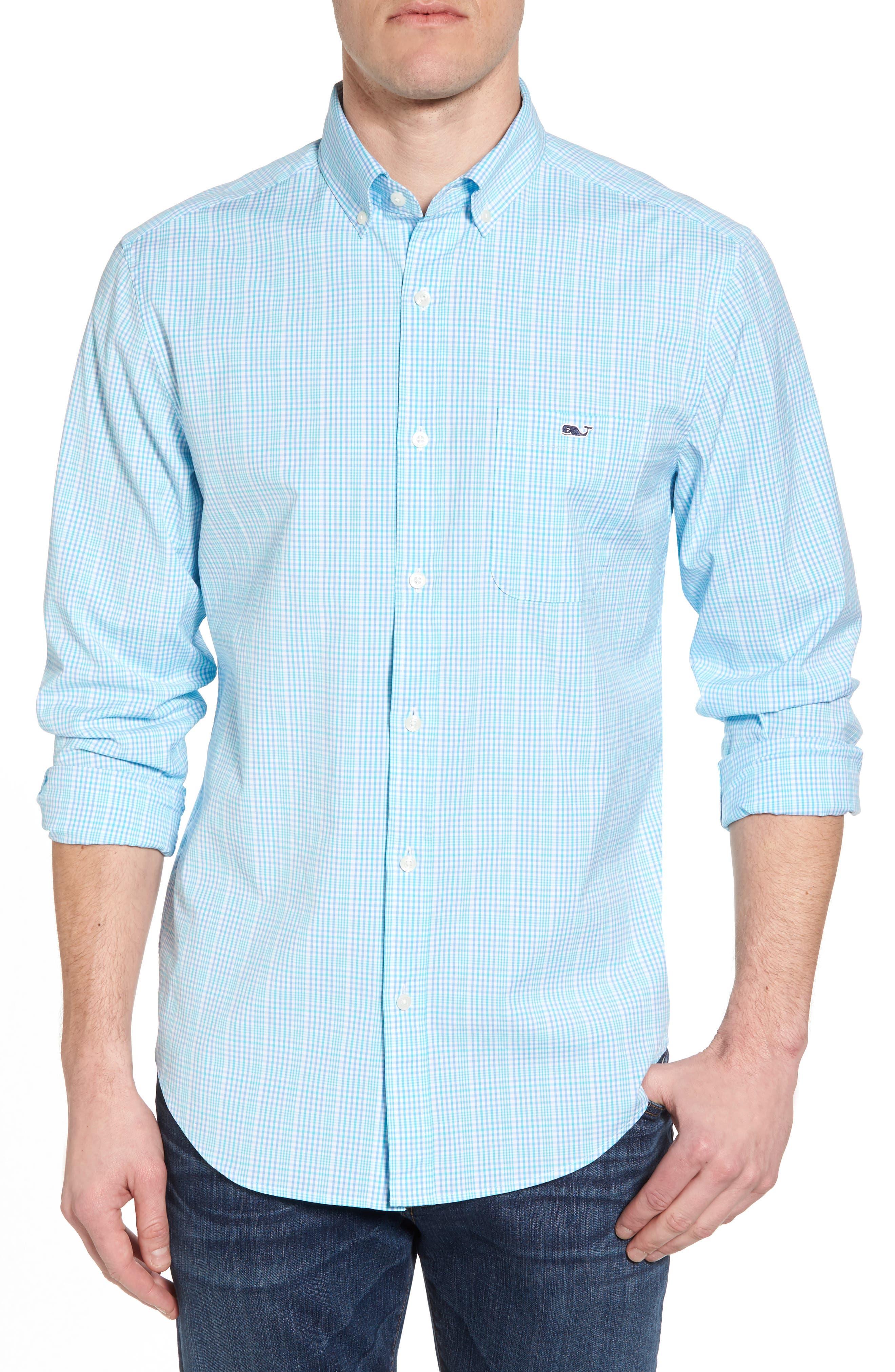 Rolling Harbor Classic Fit Plaid Sport Shirt,                         Main,                         color, Turquoise