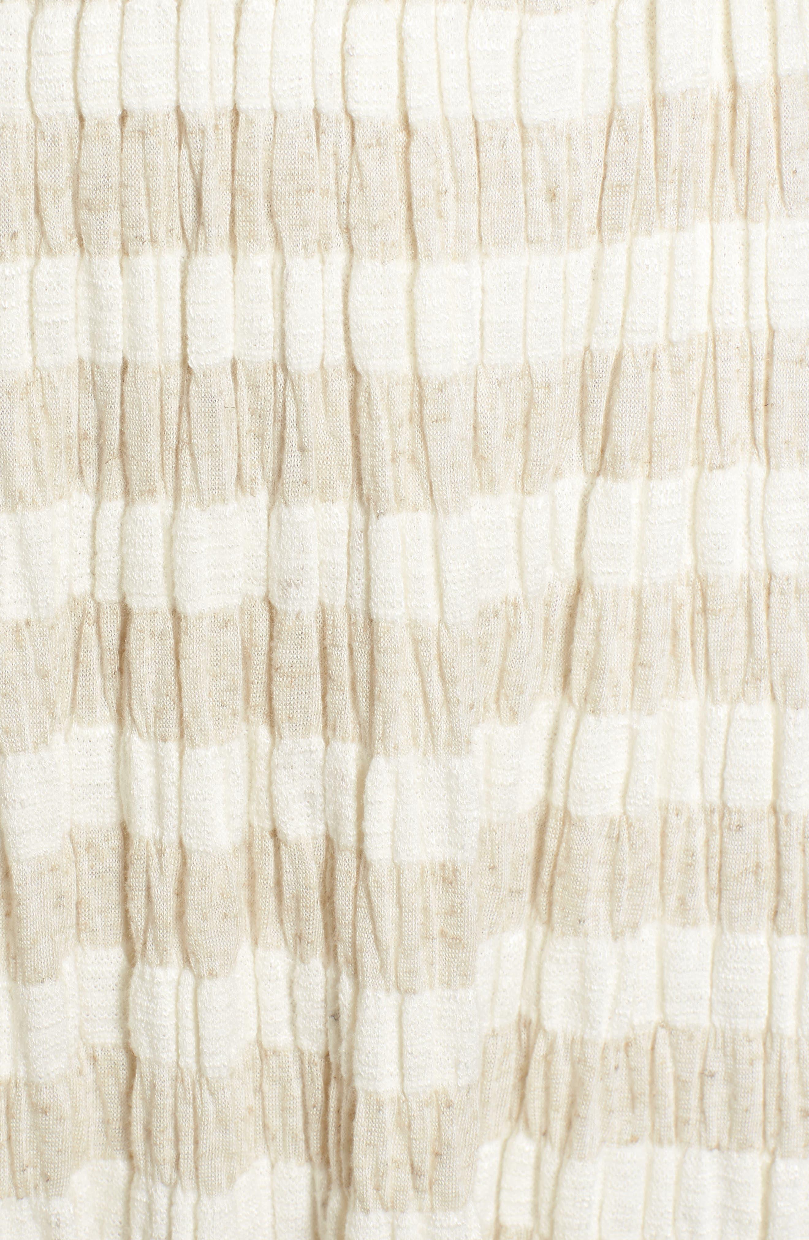 Stripe Smocked Midi Dress,                             Alternate thumbnail 5, color,                             Natural Multi