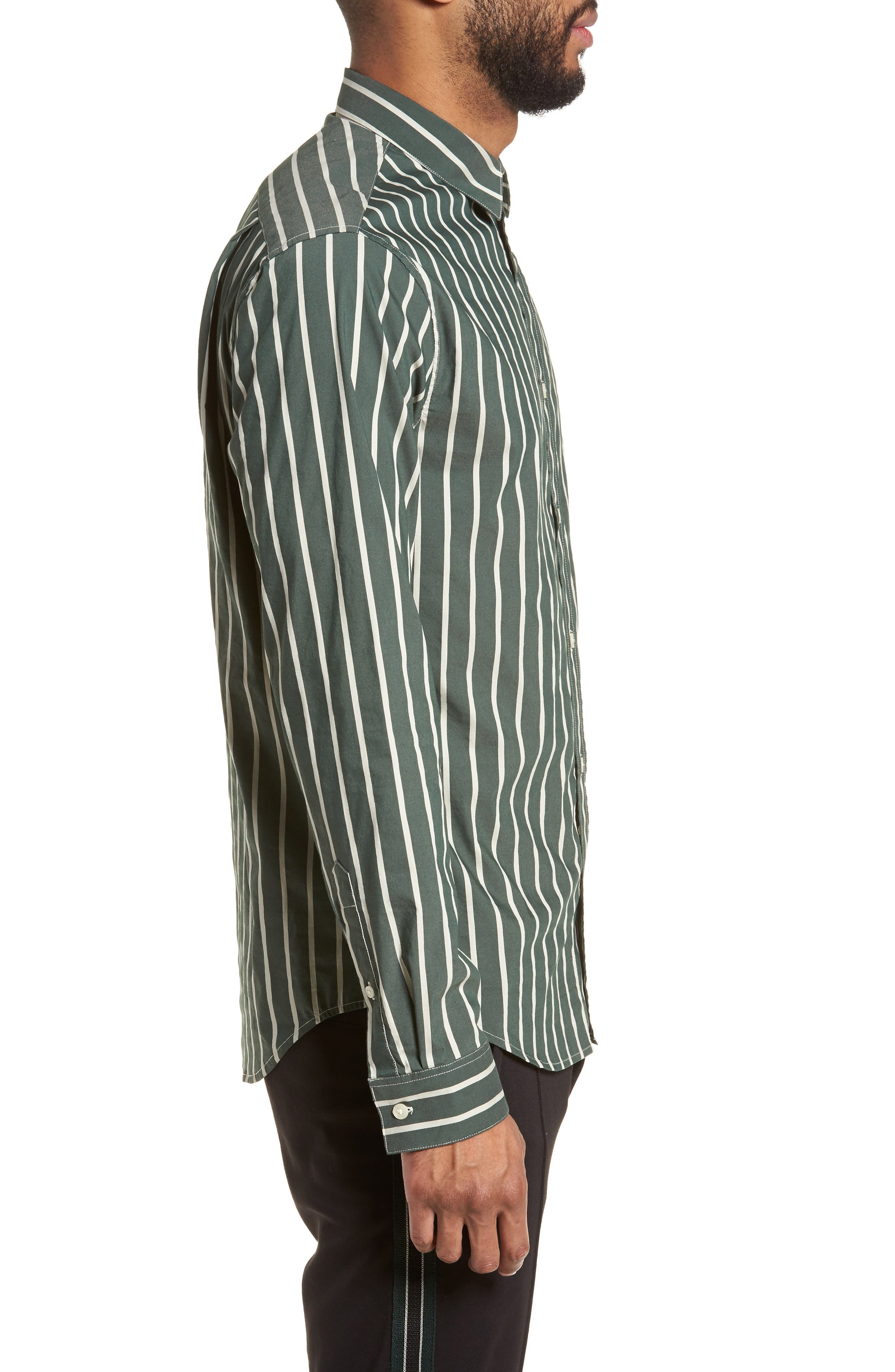 Column Stripe Sport Shirt,                             Alternate thumbnail 3, color,                             Deep Forest
