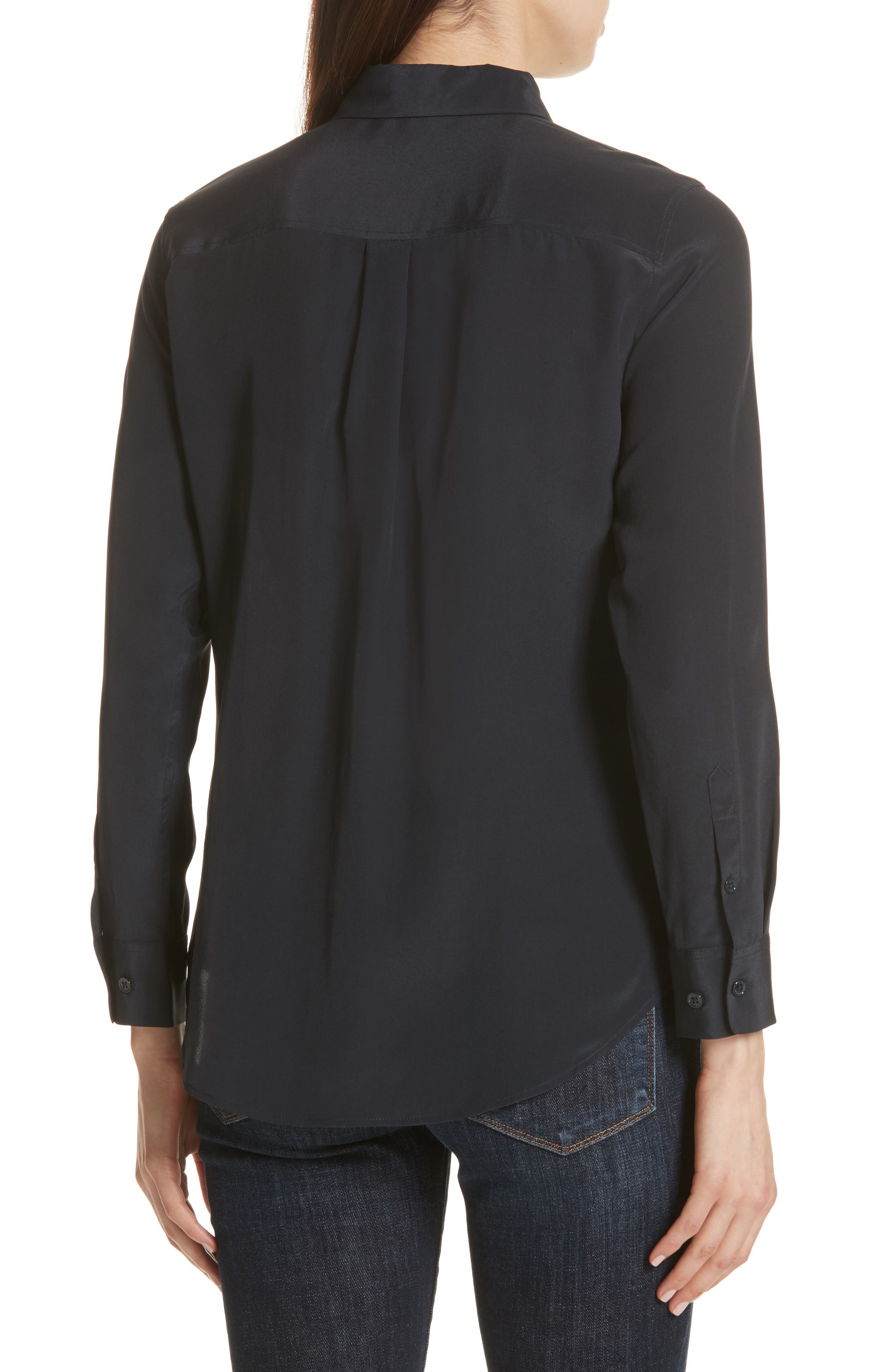 Slim Signature Silk Shirt,                             Alternate thumbnail 2, color,                             Eclipse