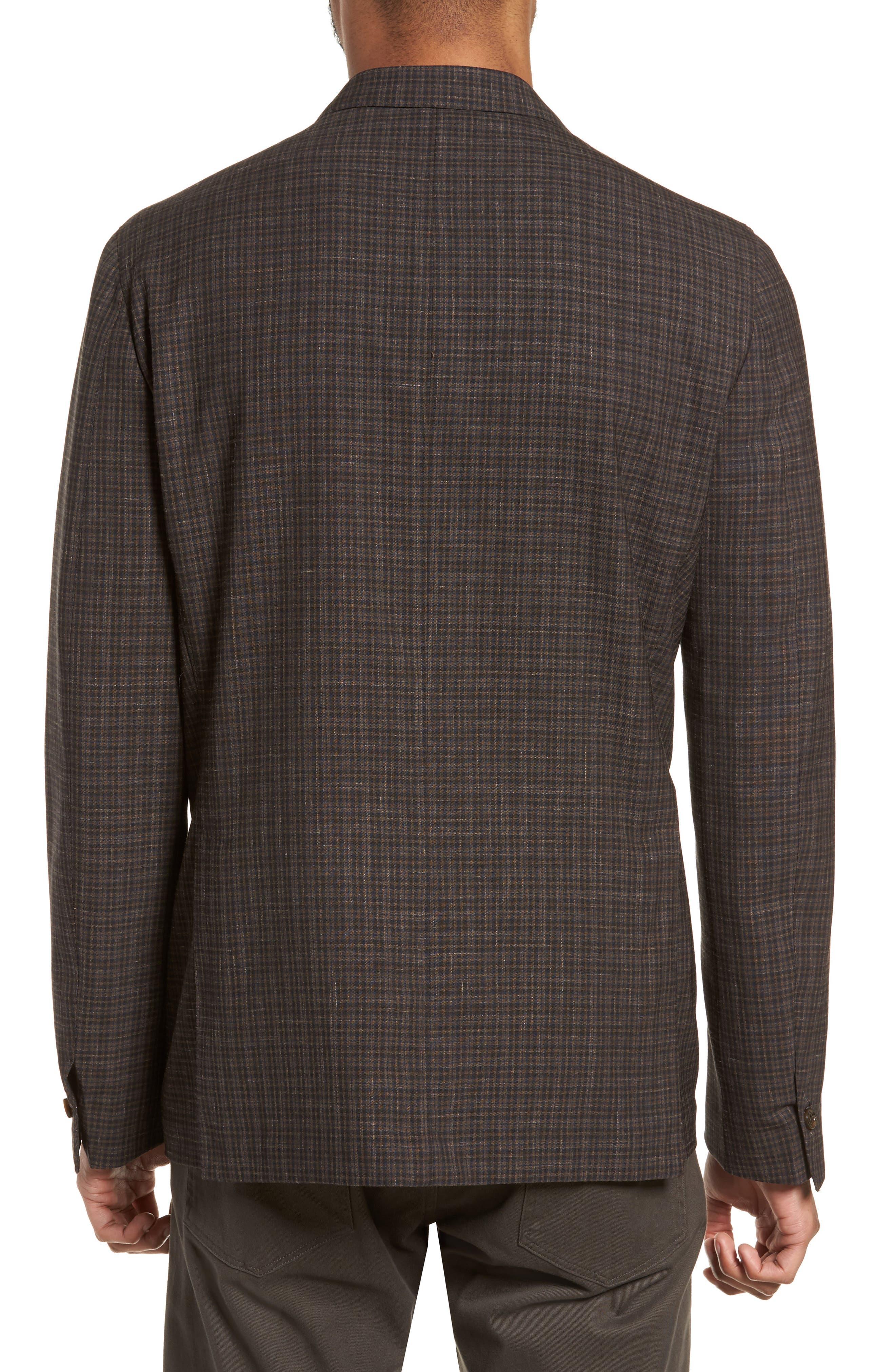 Alternate Image 2  - Eleventy Trim Fit Check Wool & Linen Sport Coat