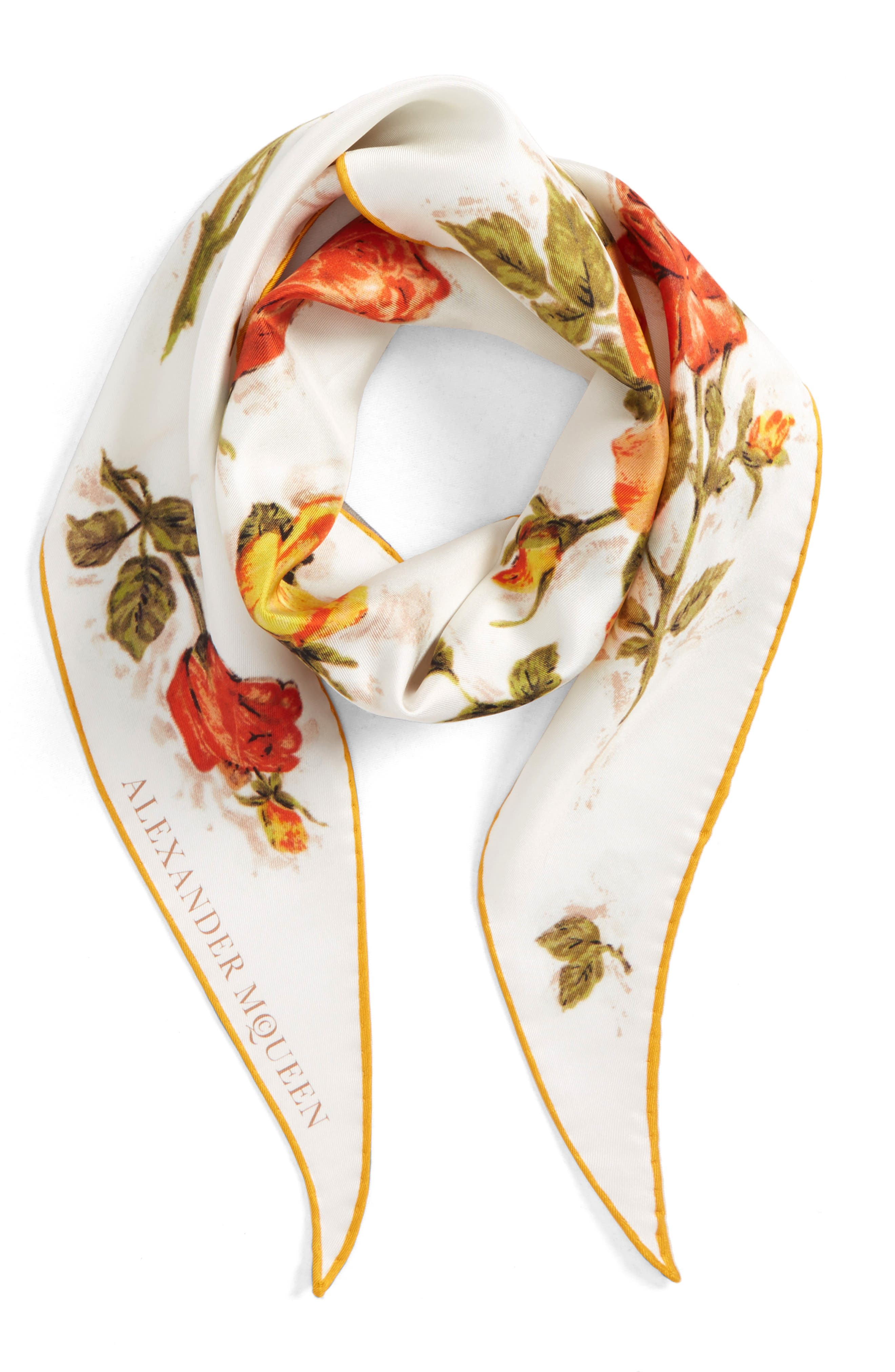 Vintage Roses Losange Silk Twill Scarf,                             Alternate thumbnail 2, color,                             Ivory/ Yellow