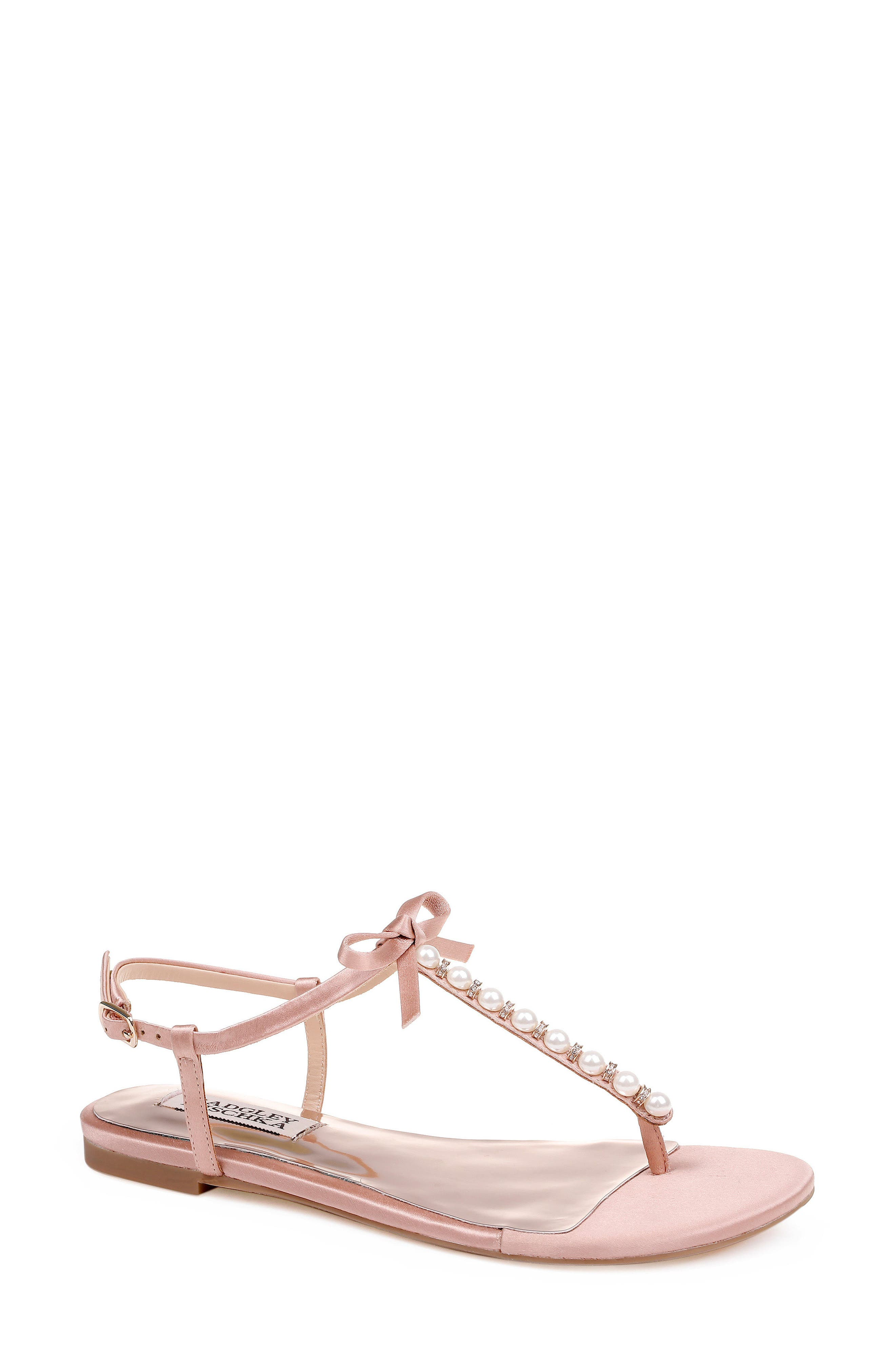 Honey Embellished Sandal,                             Main thumbnail 1, color,                             Dark Pink Satin