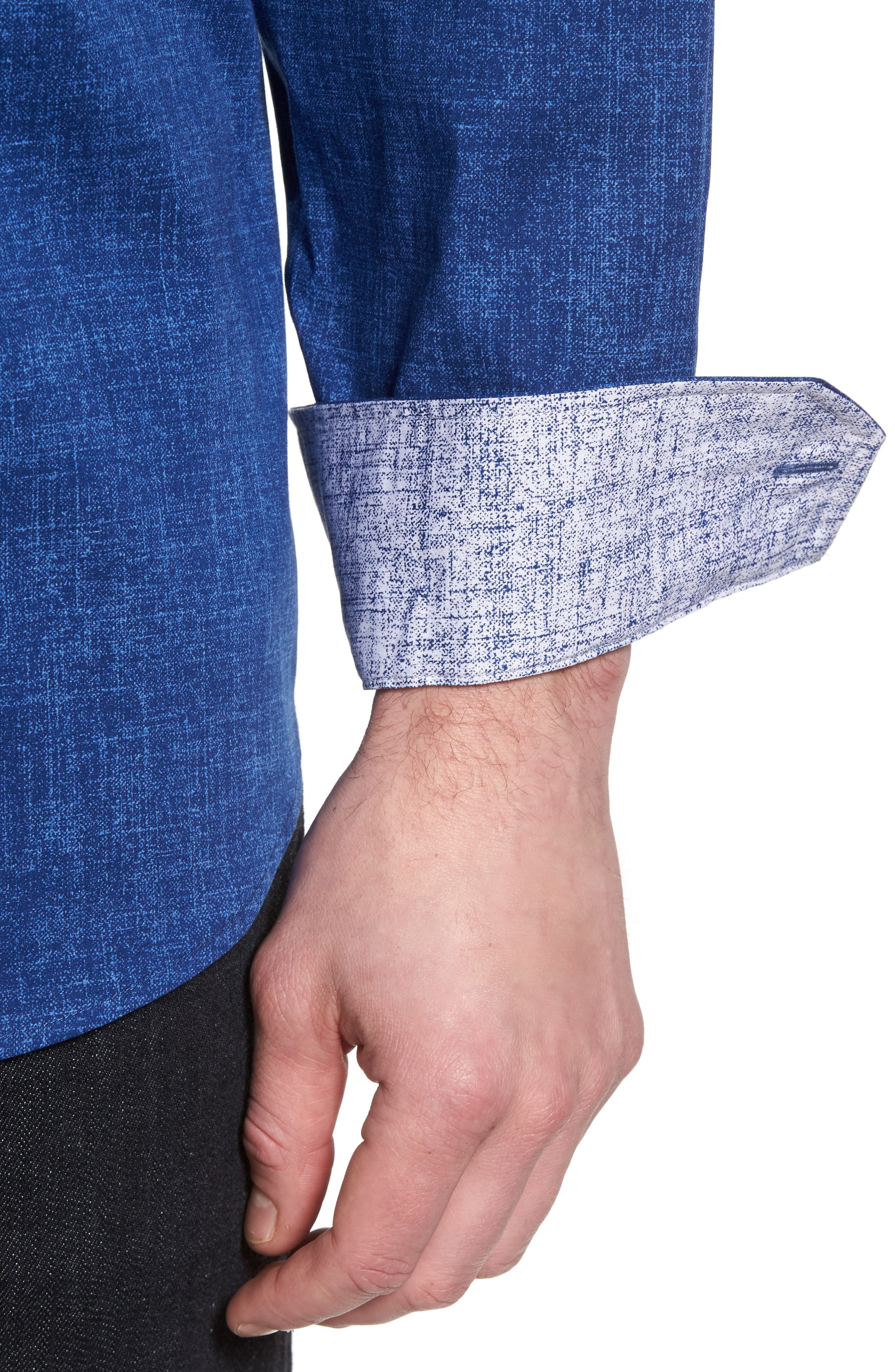 Chambray Print Classic Fit Sport Shirt,                             Alternate thumbnail 4, color,                             Navy