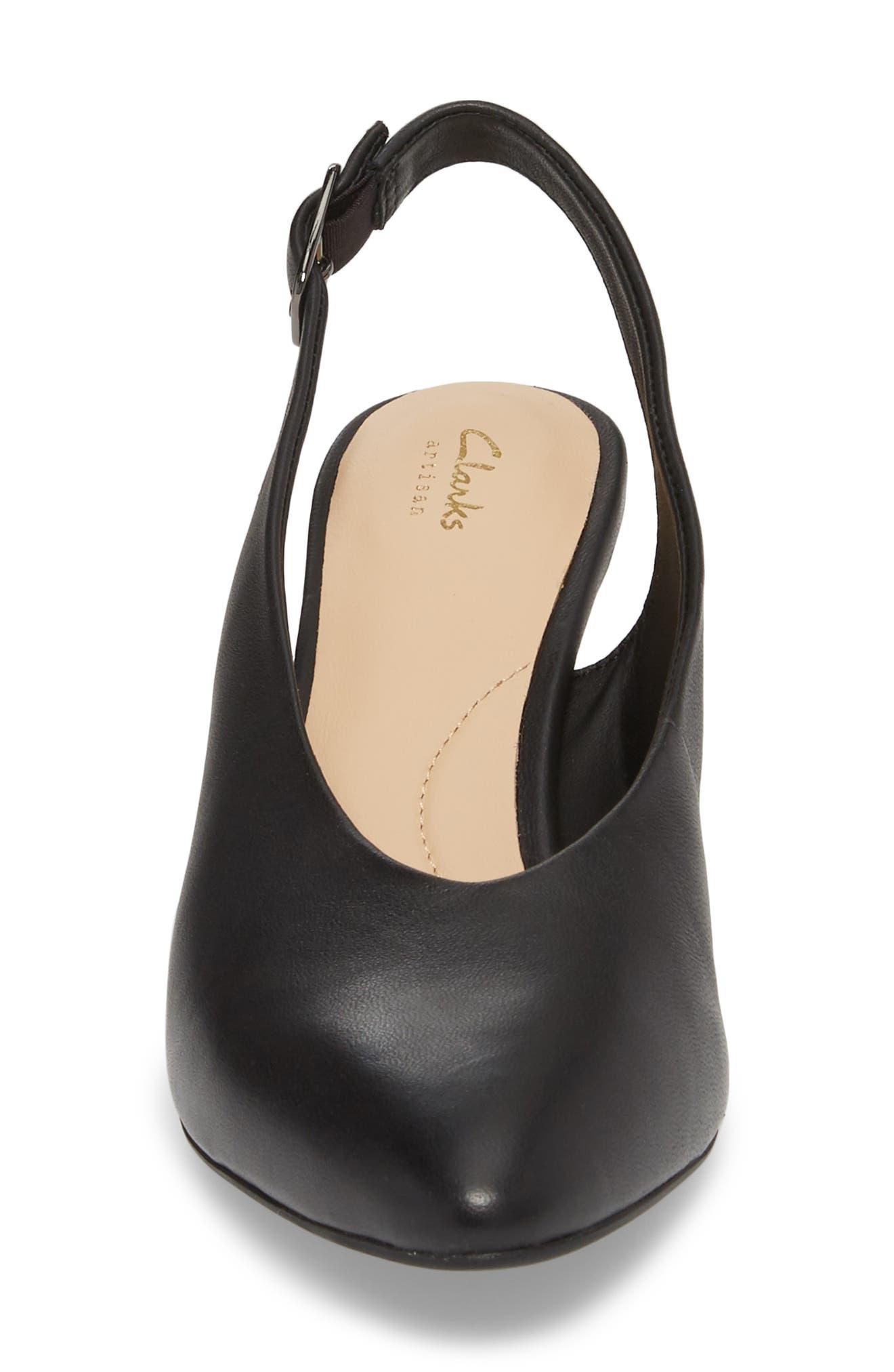 Calla Violet Kitten Heel Pump,                             Alternate thumbnail 4, color,                             Black Leather