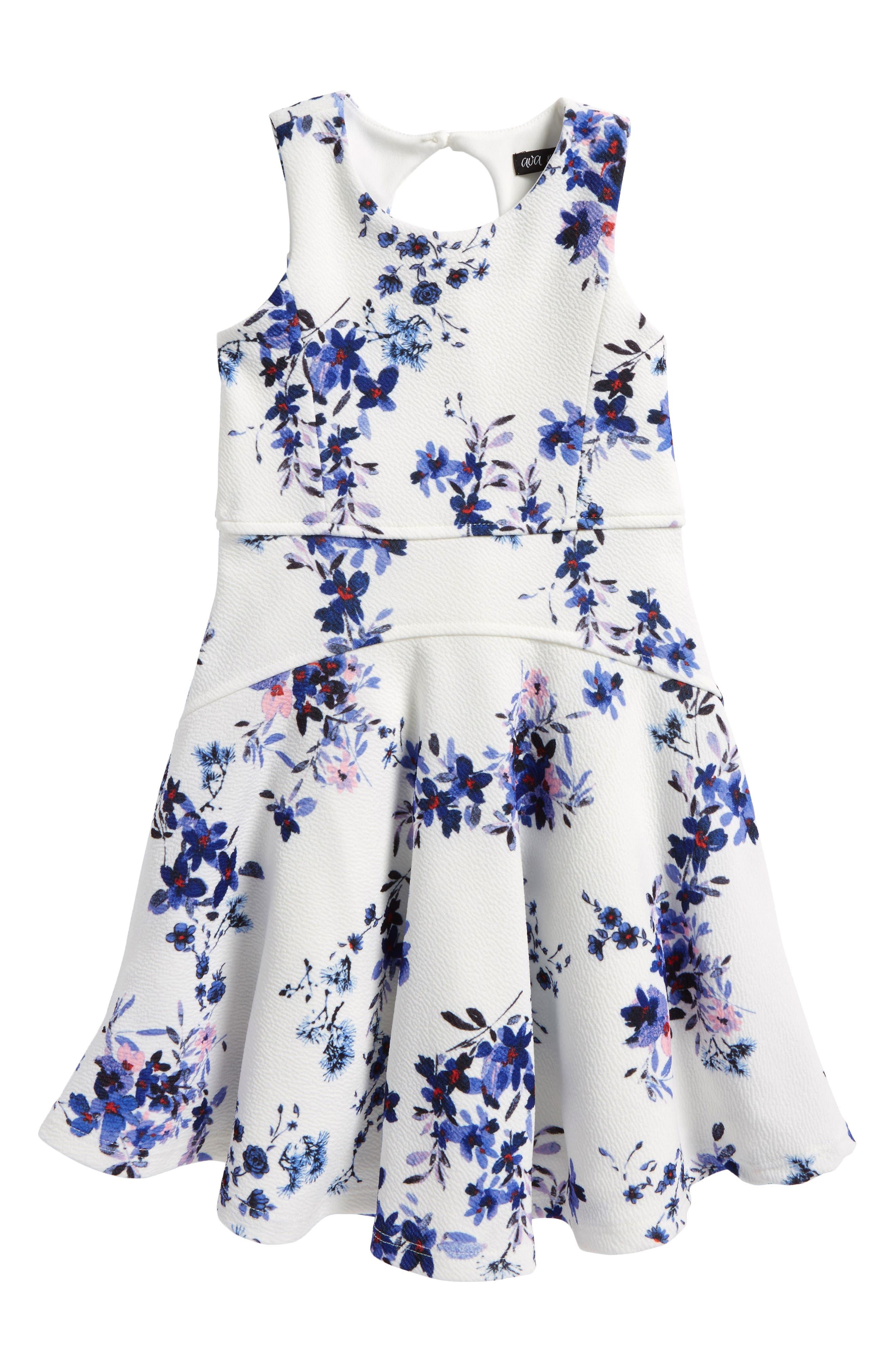 Floral Print Skater Dress,                             Main thumbnail 1, color,                             White/ Blue