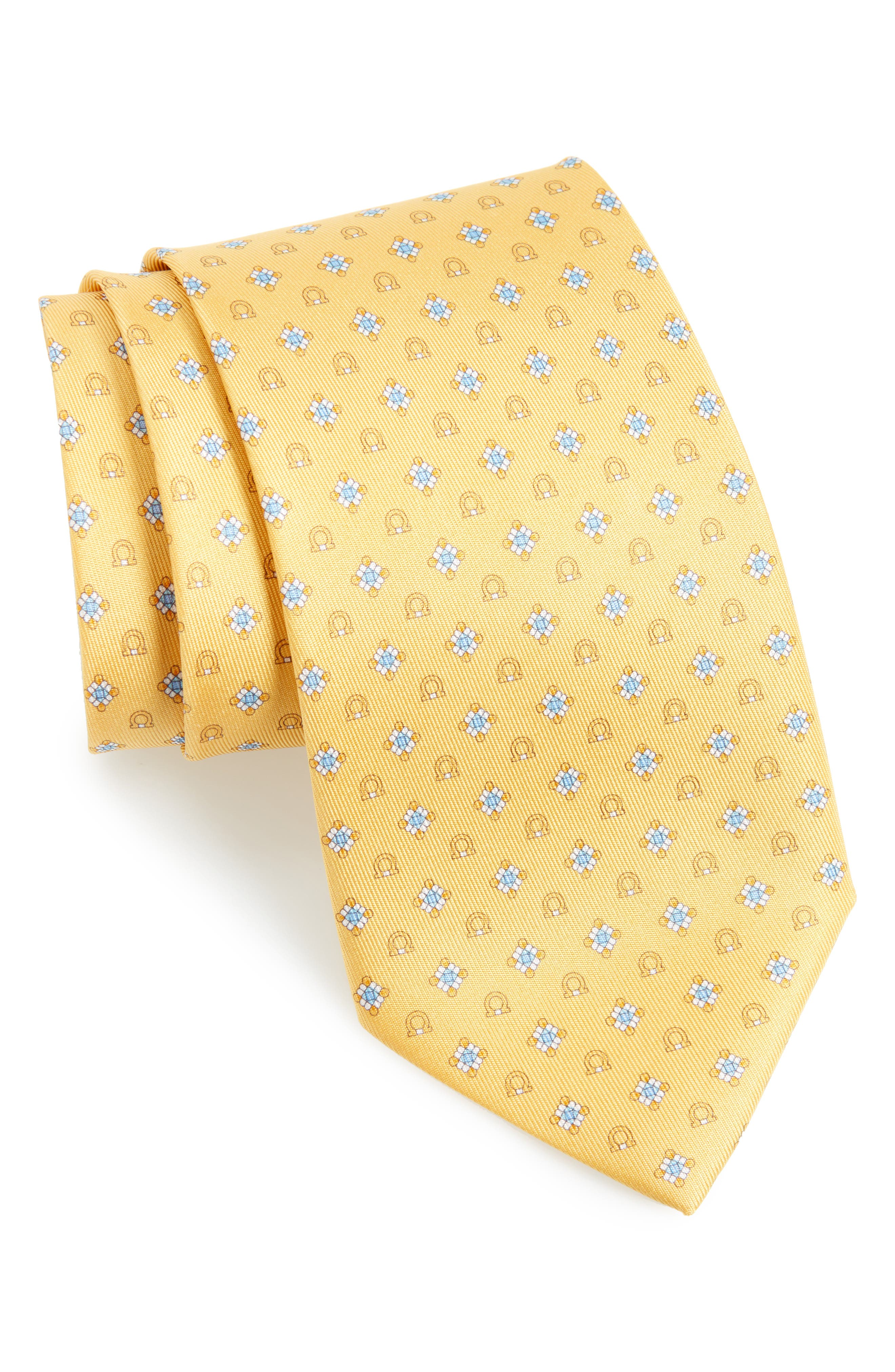 Edison Medallion Silk Tie,                             Main thumbnail 1, color,                             Yellow