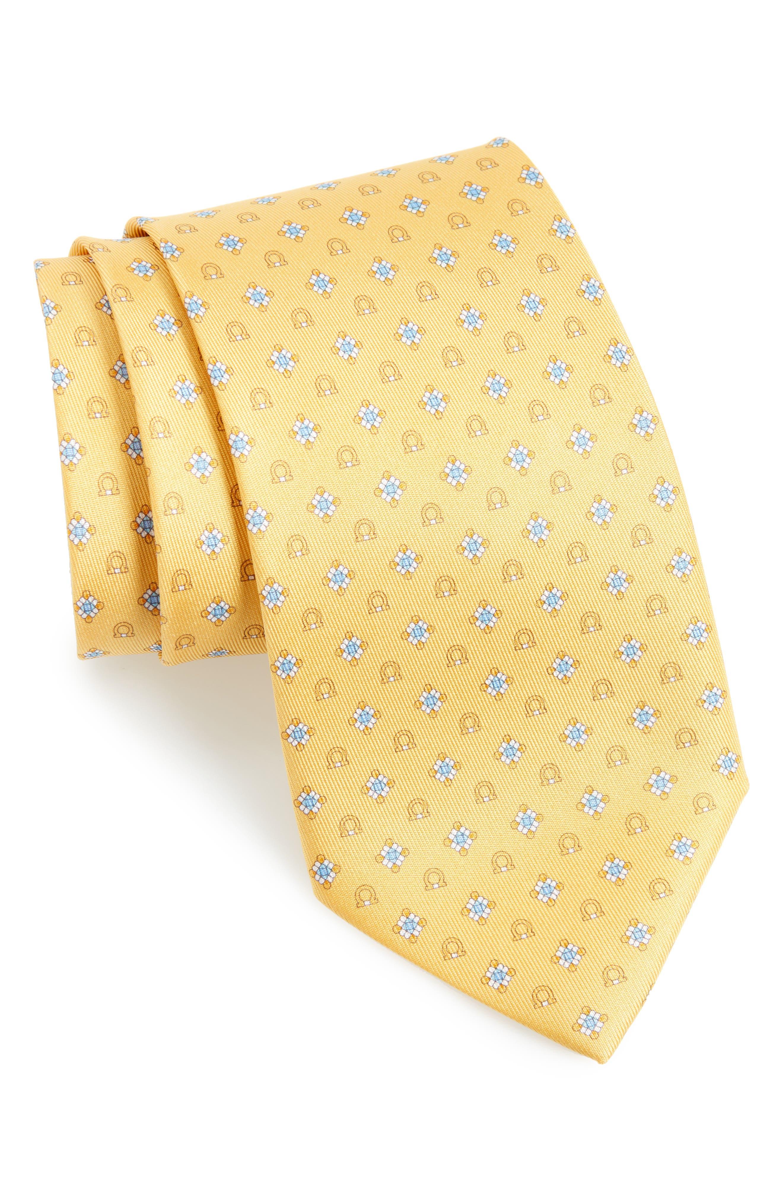 Edison Medallion Silk Tie,                         Main,                         color, Yellow