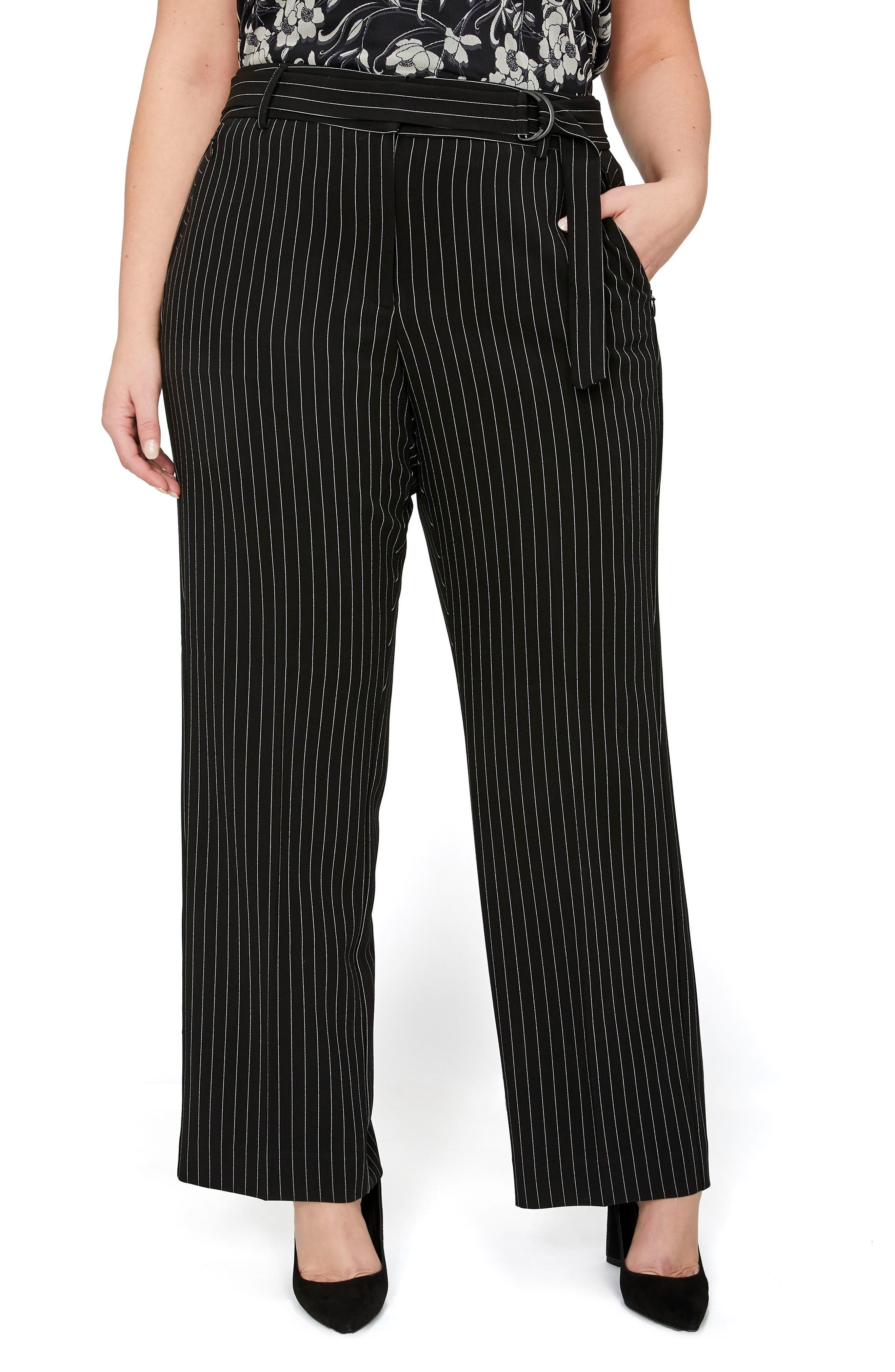 Pinstripe Straight Leg Pants,                         Main,                         color, Pin Stripe Black Combo