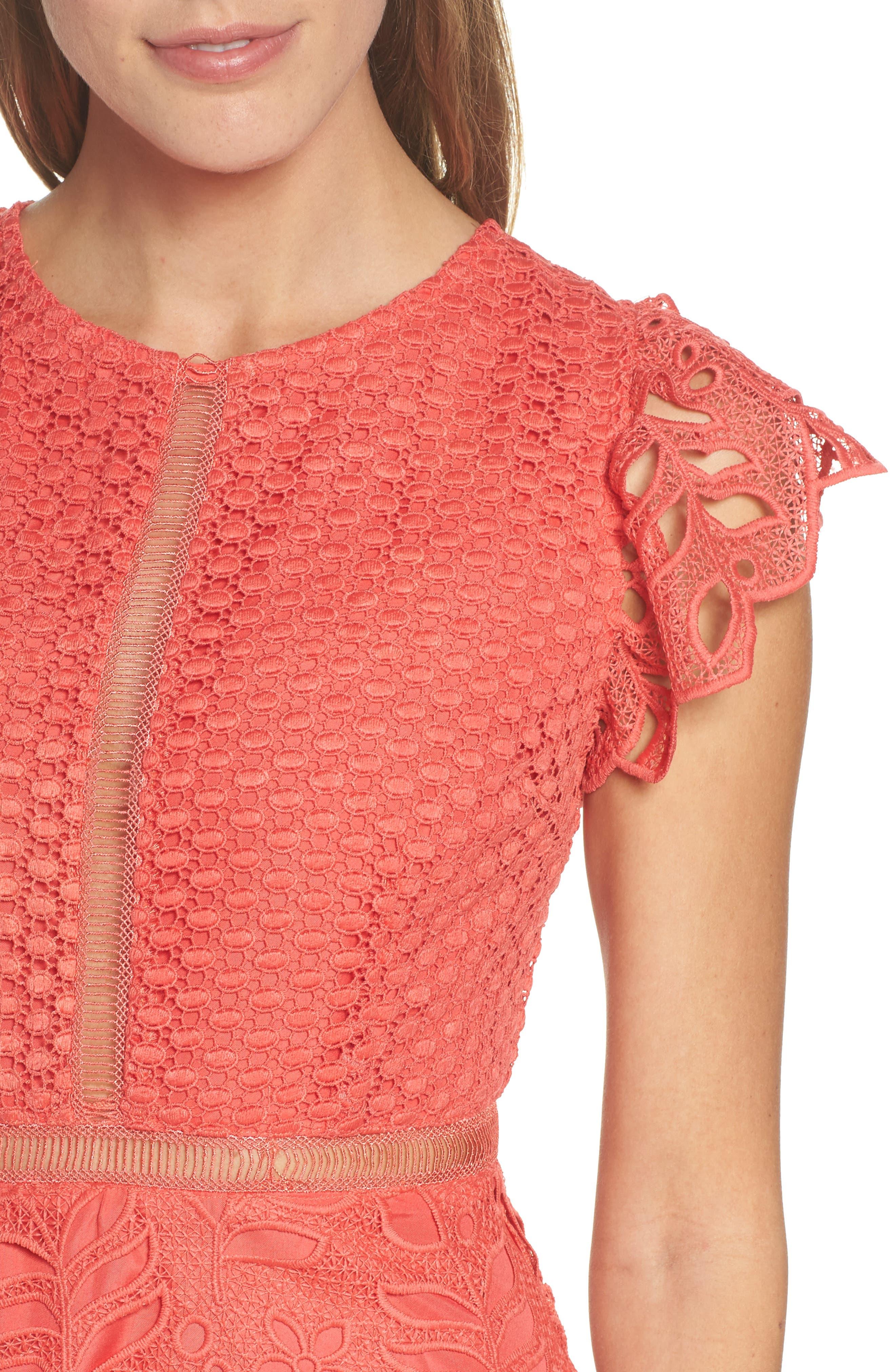 Ariane Mix Lace Dress,                             Alternate thumbnail 4, color,                             Cantaloupe