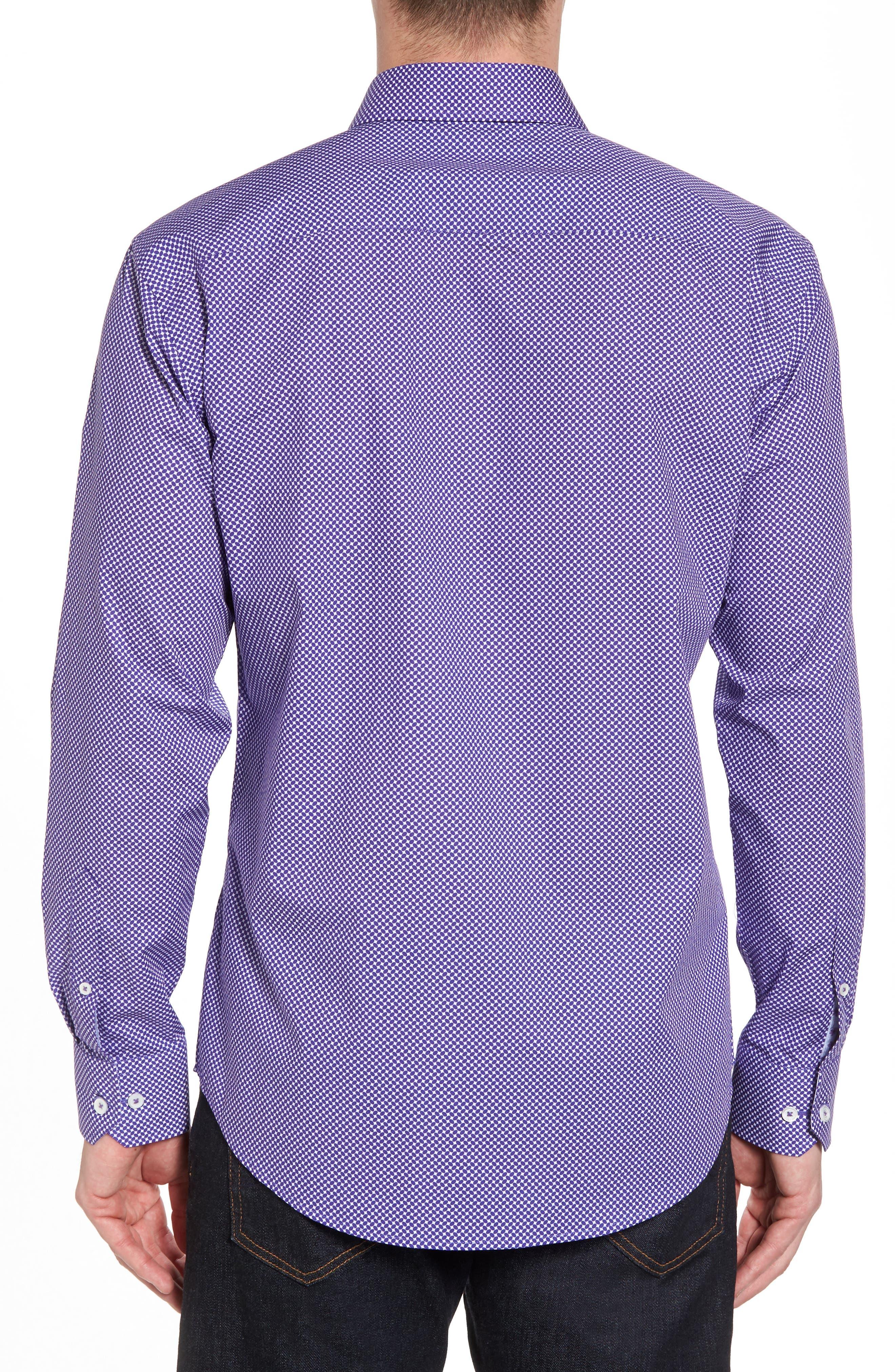 Slim Fit Geo Print Sport Shirt,                             Alternate thumbnail 2, color,                             Amethyst