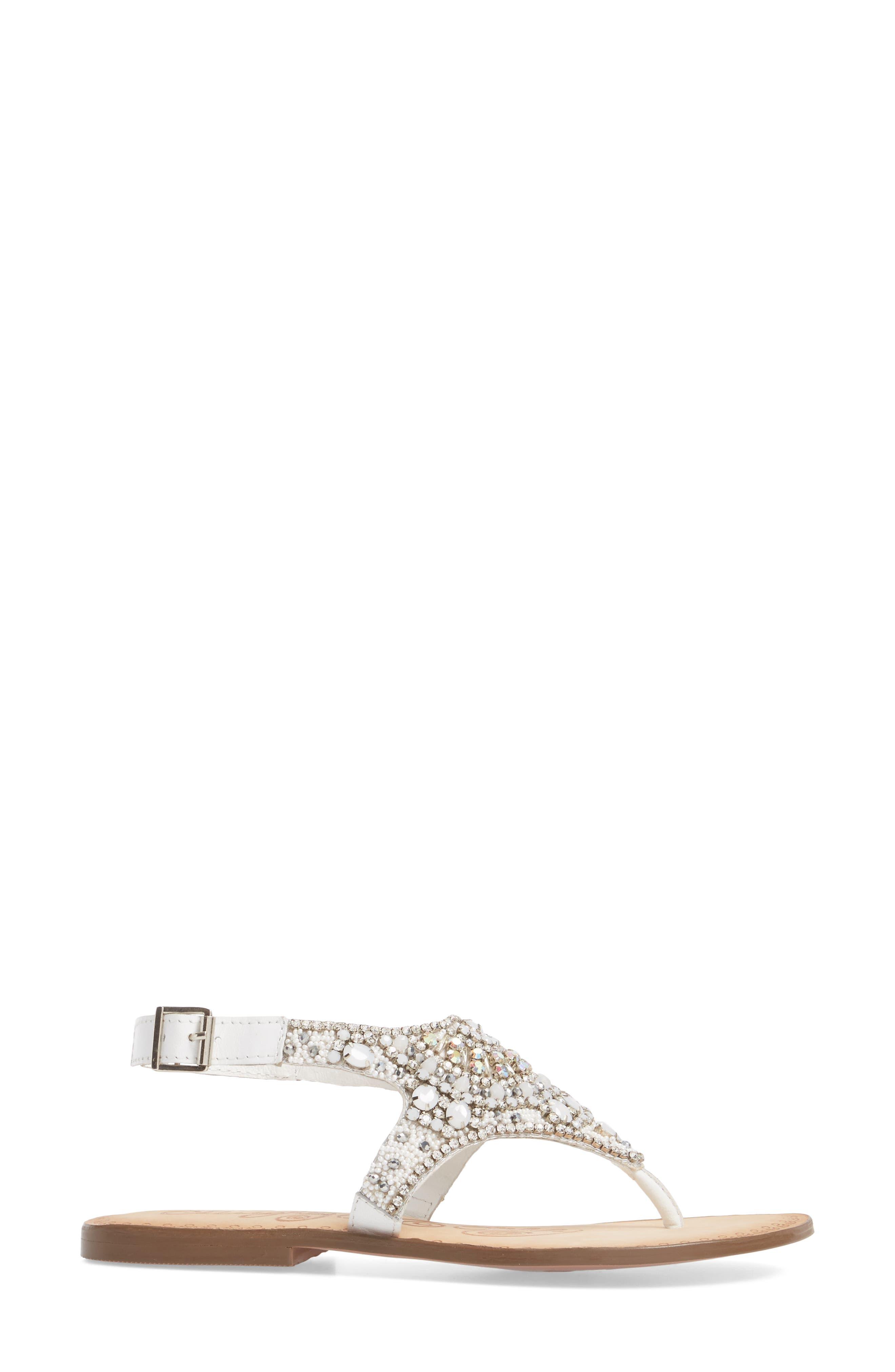 Iceberg Crystal Embellished Sandal,                             Alternate thumbnail 3, color,                             White Leather