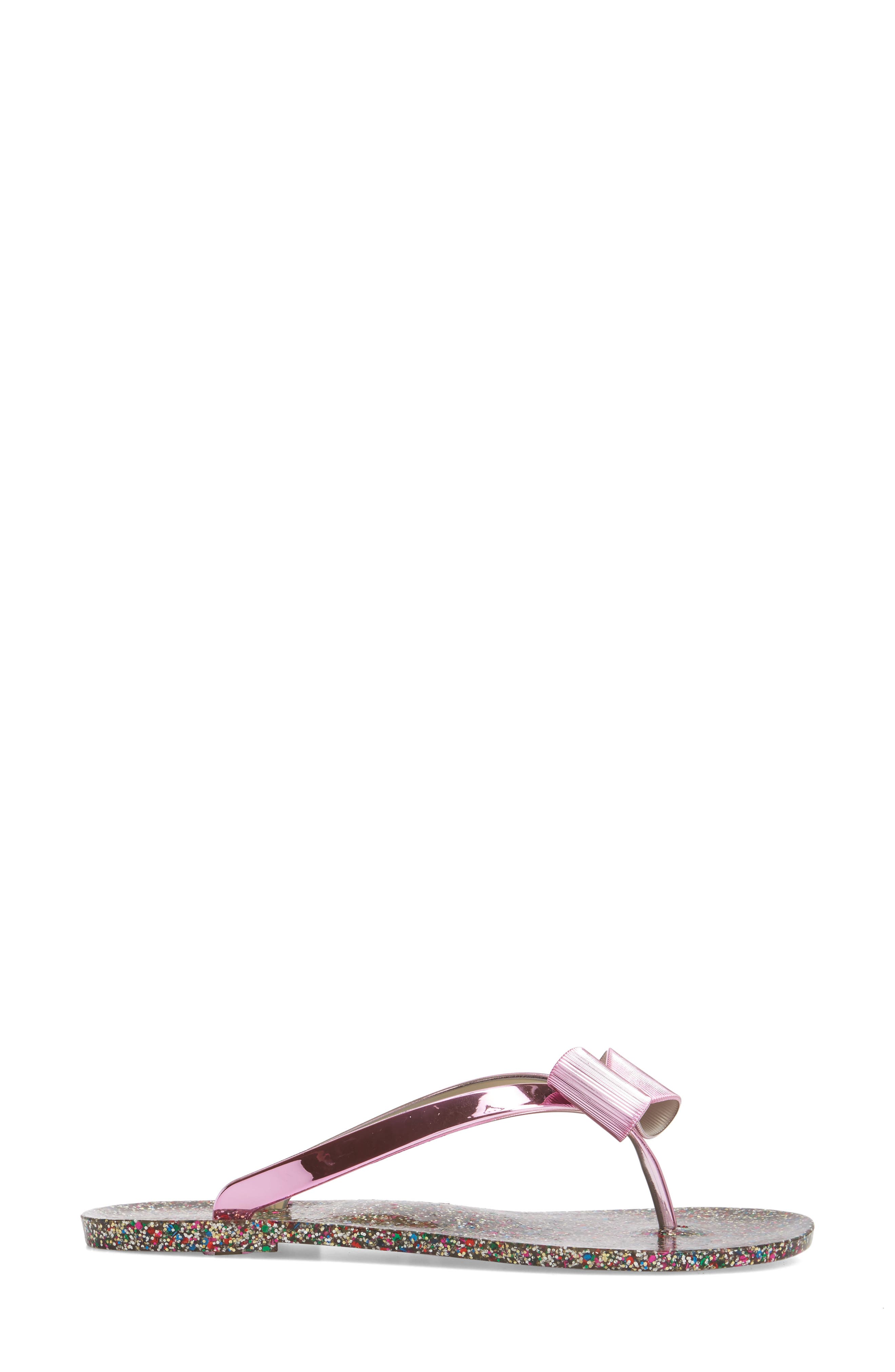 follie glitter flip flop,                             Alternate thumbnail 3, color,                             Fuchsia Specchio
