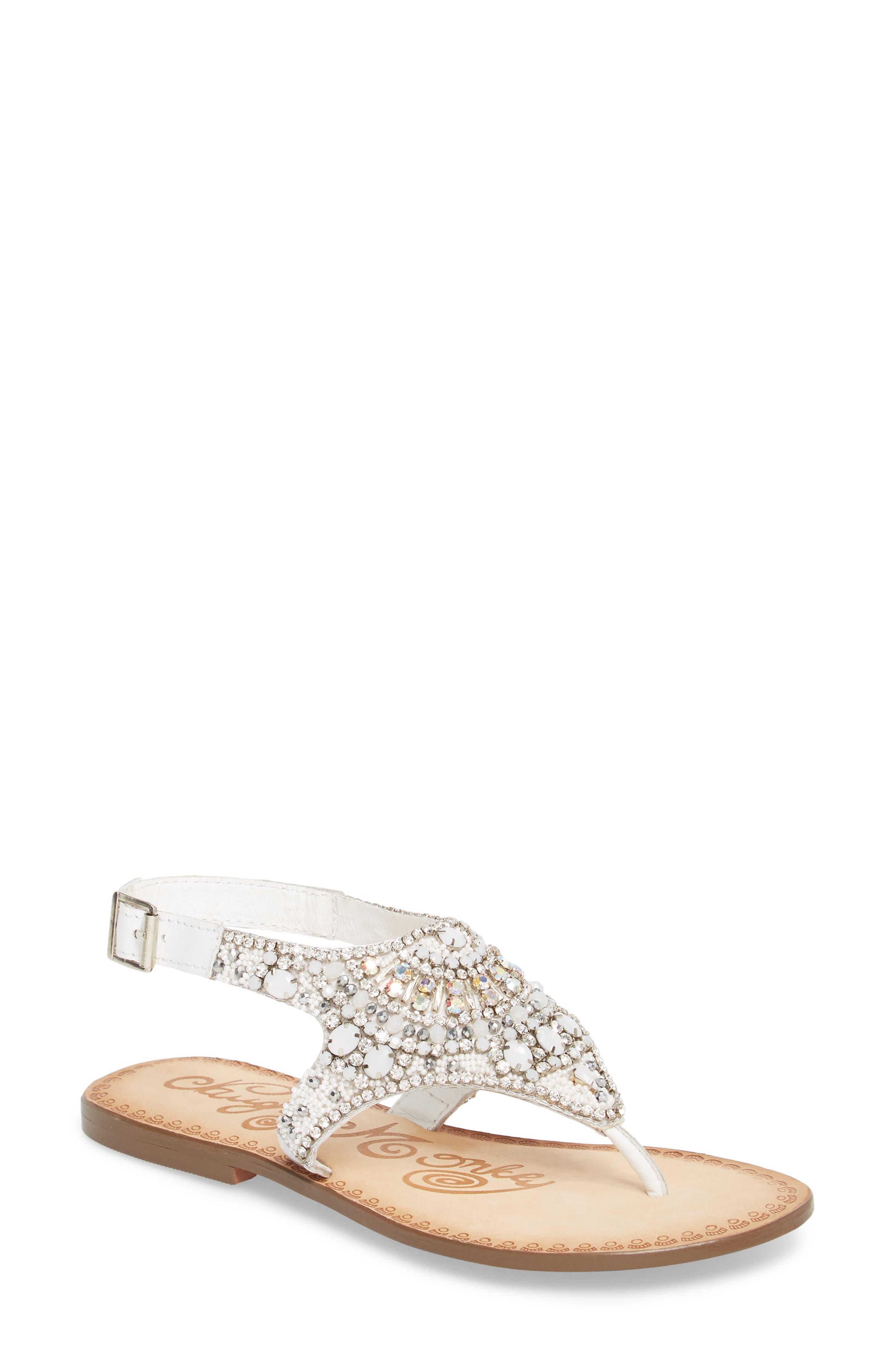 Iceberg Crystal Embellished Sandal,                             Main thumbnail 1, color,                             White Leather