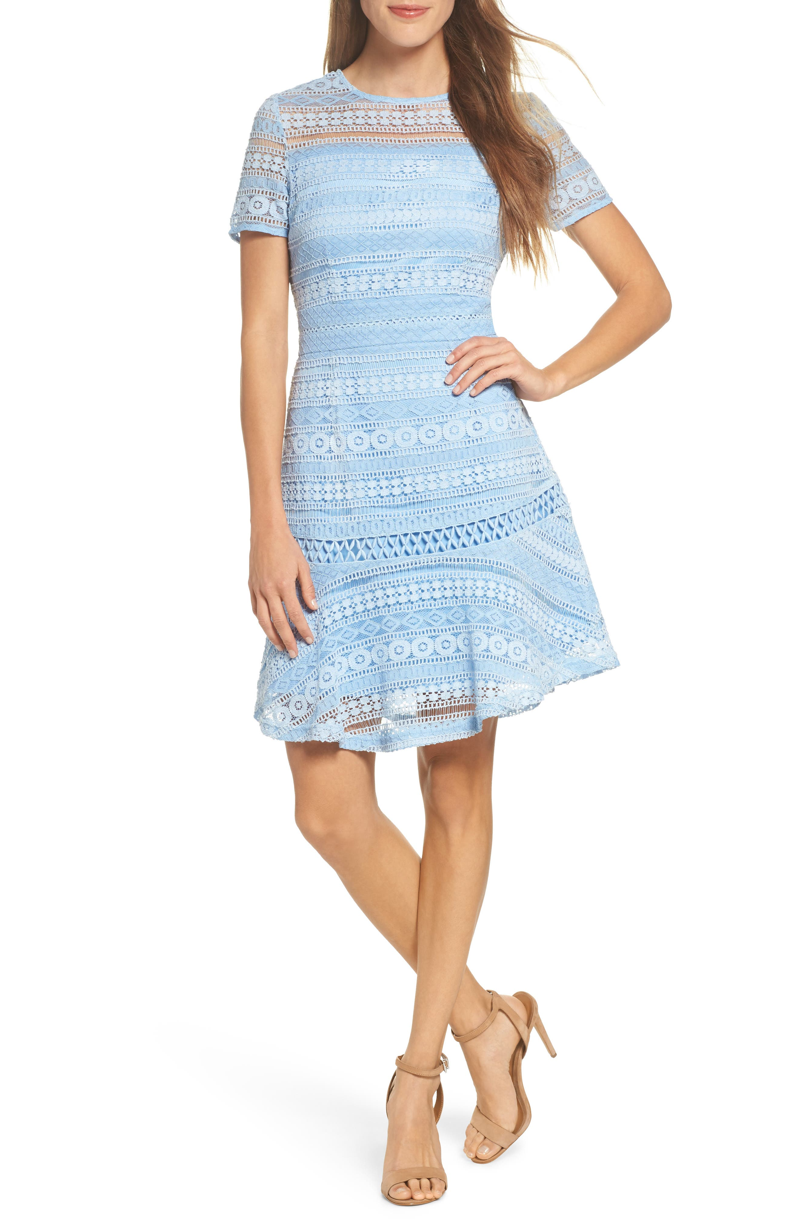 Lace Dress,                         Main,                         color, Blue French