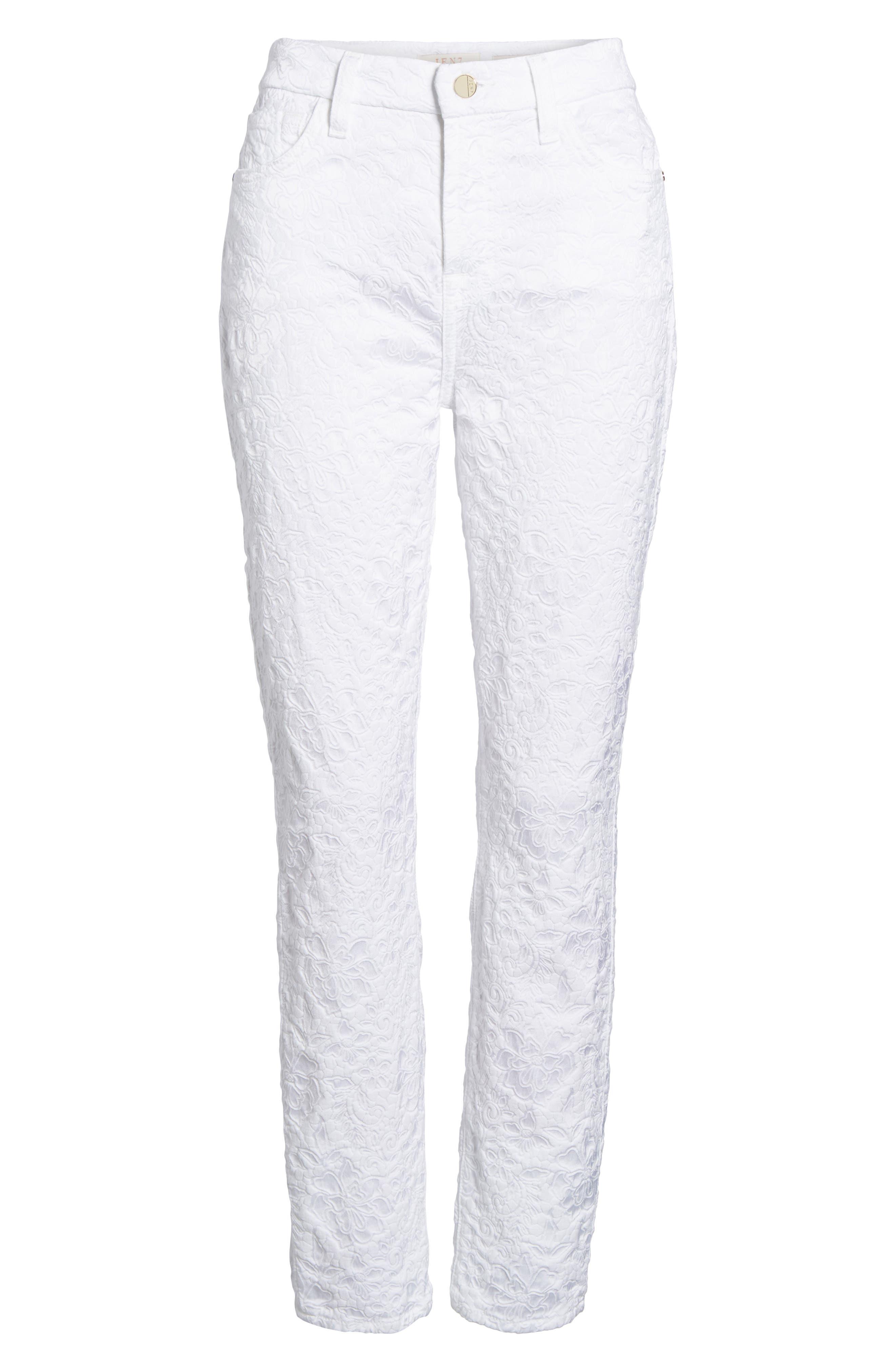 Jacquard Ankle Skinny Jeans,                             Alternate thumbnail 6, color,                             White