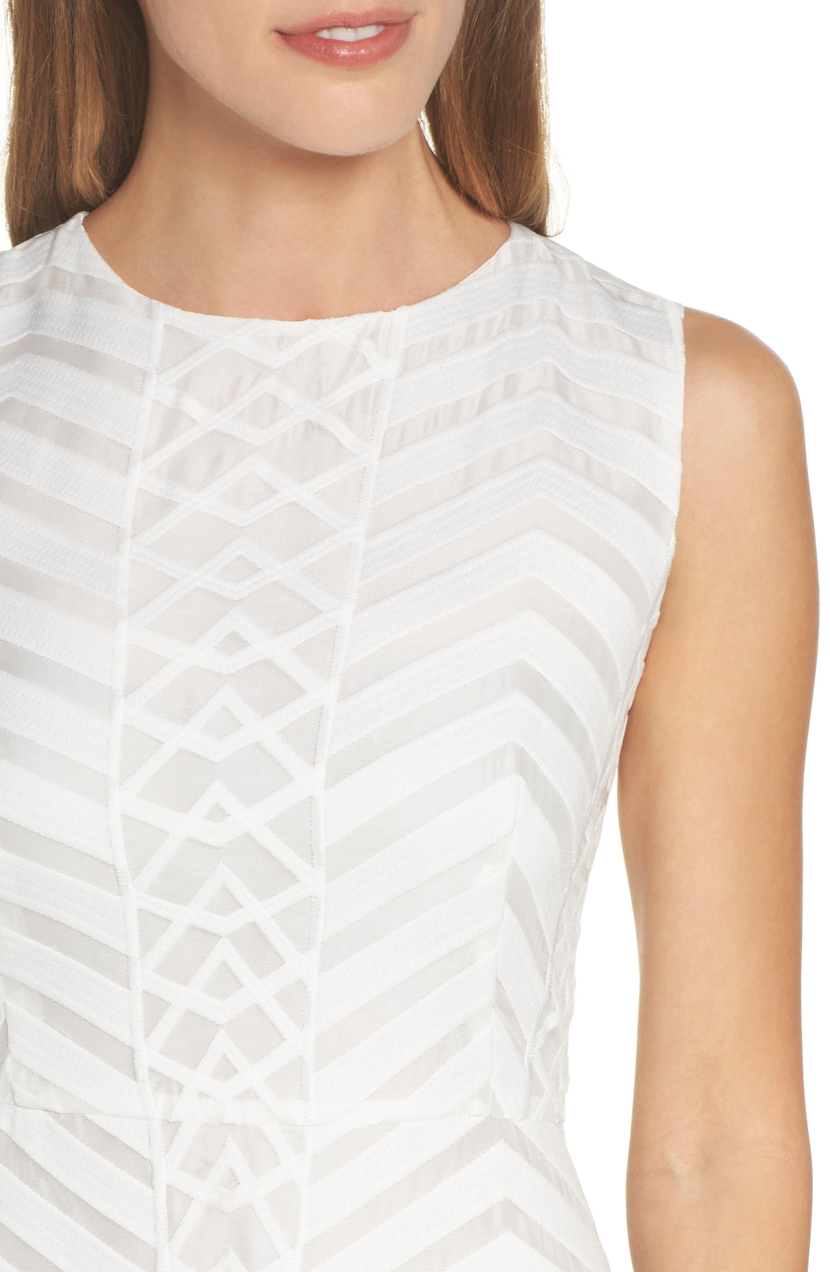 Fit & Flare Dress,                             Alternate thumbnail 4, color,                             White Snow