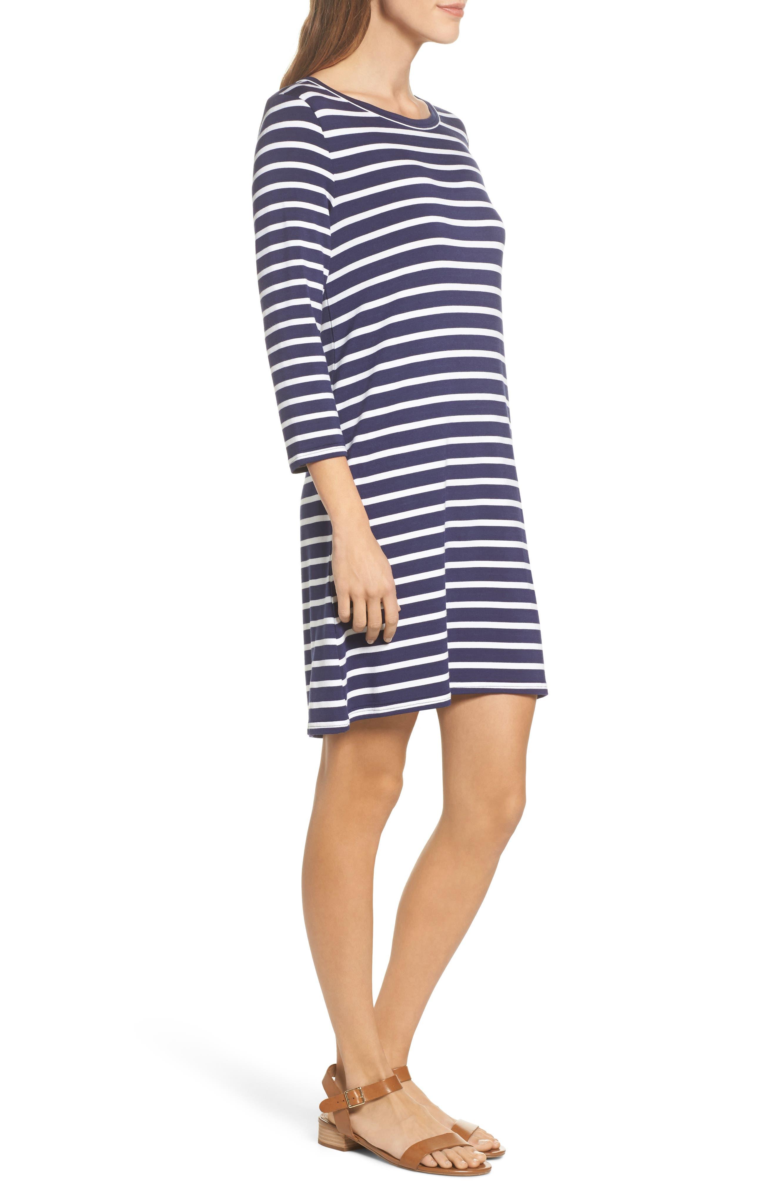 Adelene Stripe Knit Shift Dress,                             Alternate thumbnail 3, color,                             Navy