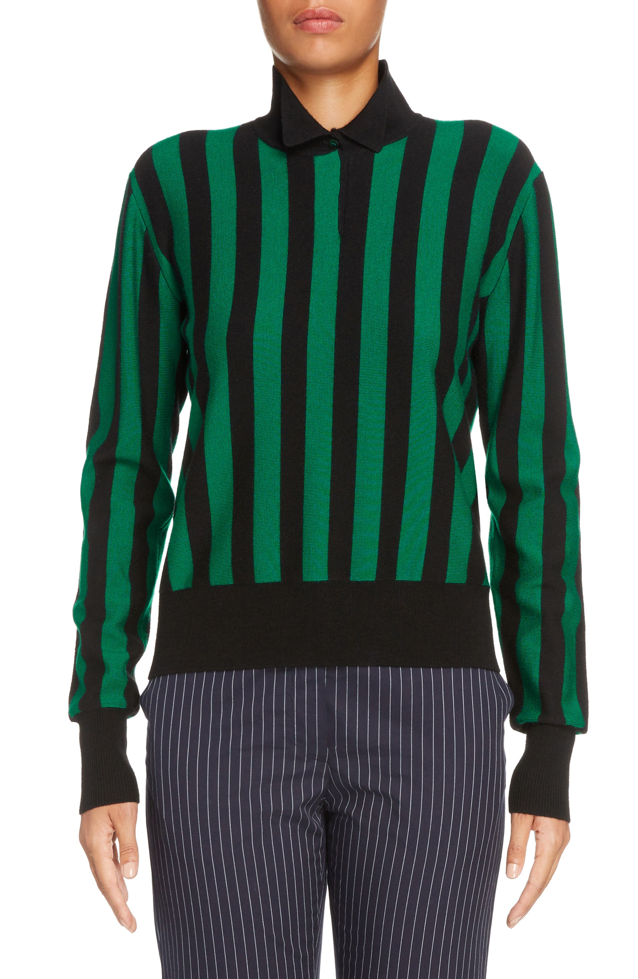 Stripe High Neck Sweater,                         Main,                         color, Emerald