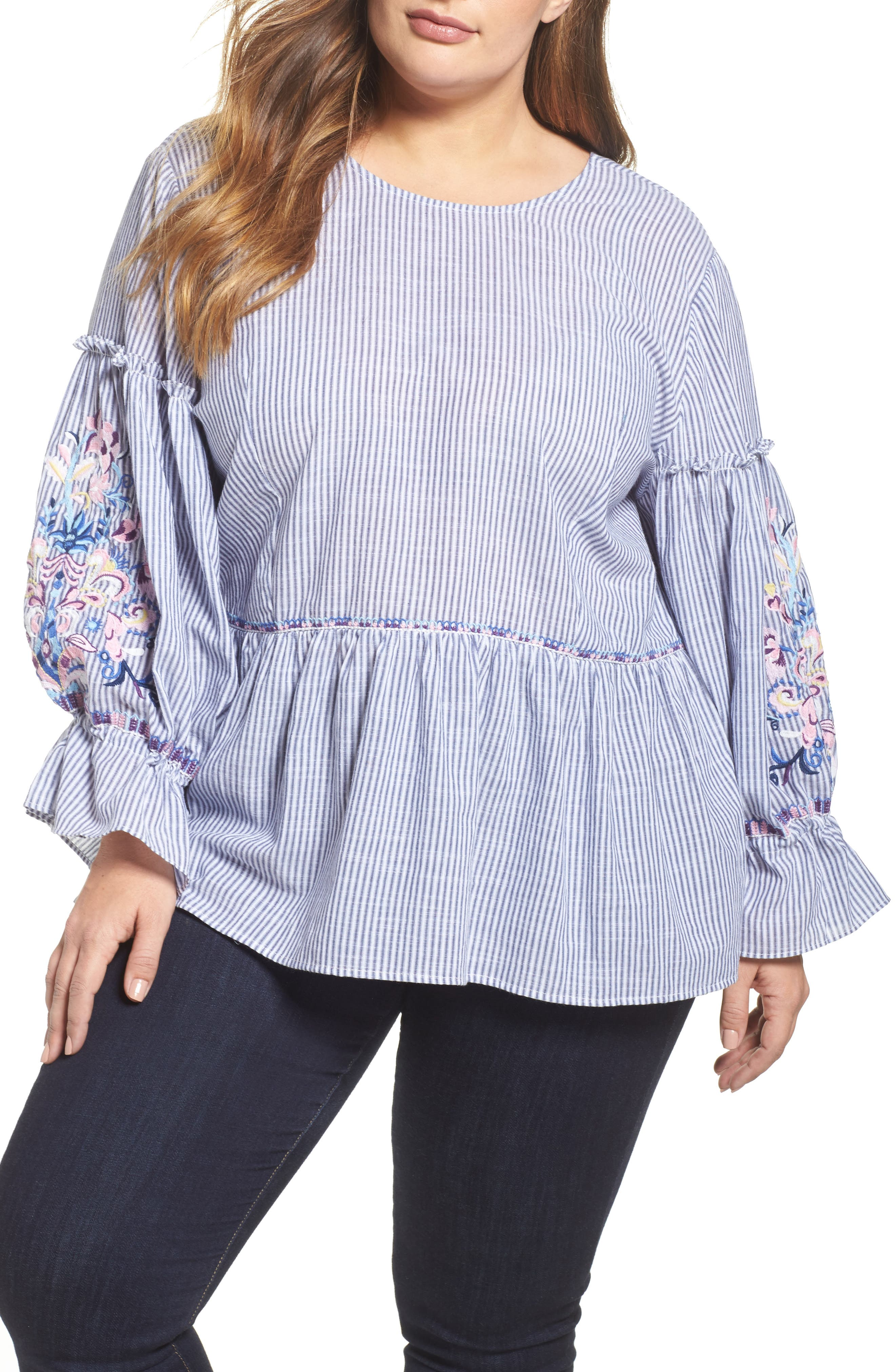 Embroidered Blouse,                         Main,                         color, Blue-White