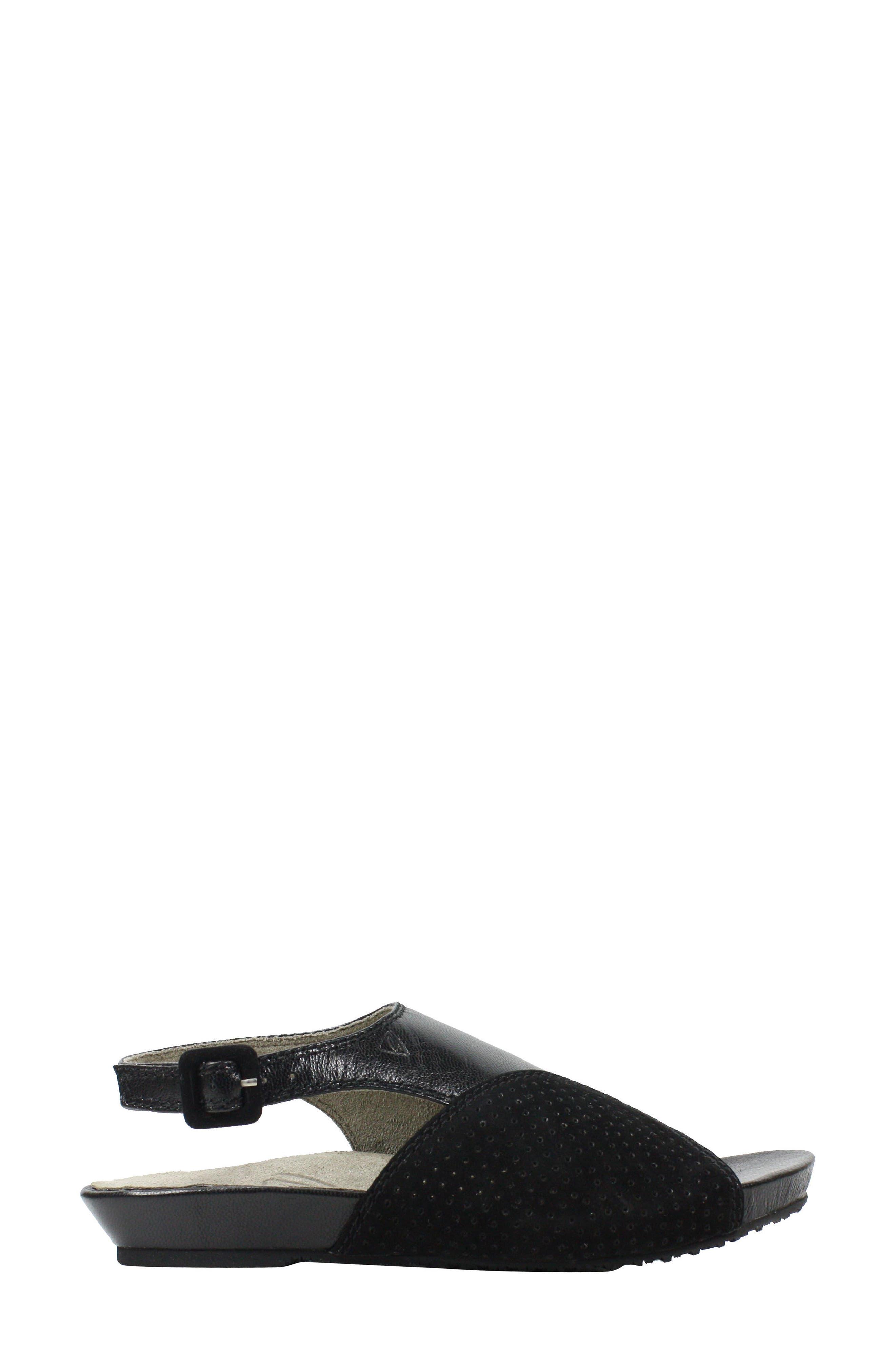 Dalenna Ankle Strap Sandal,                             Alternate thumbnail 3, color,                             Black Leather
