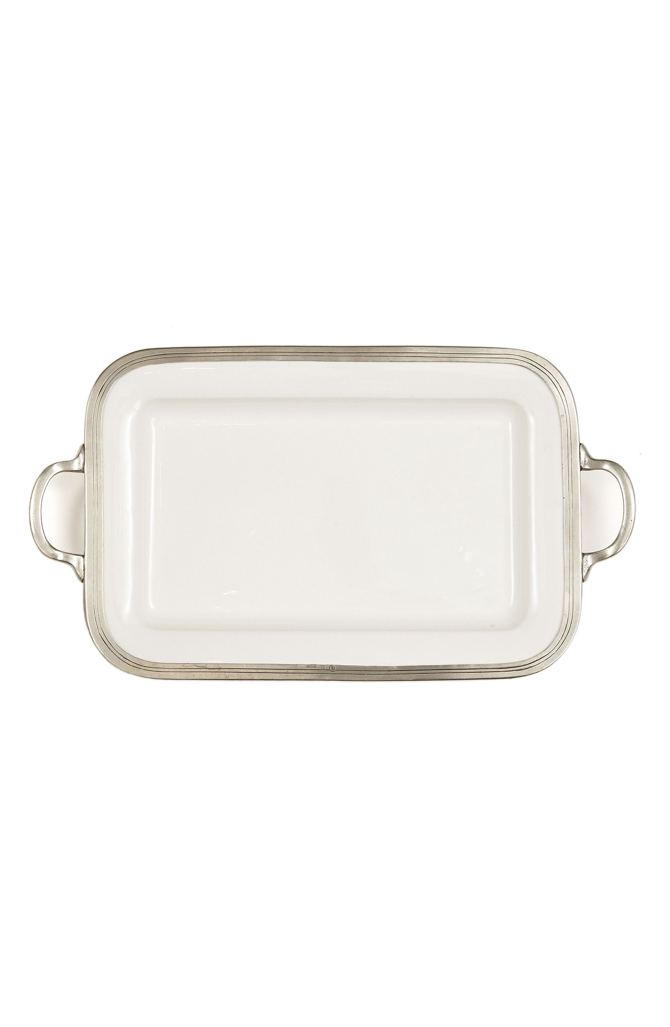 Tuscan Rectangular Serving Tray,                         Main,                         color, White