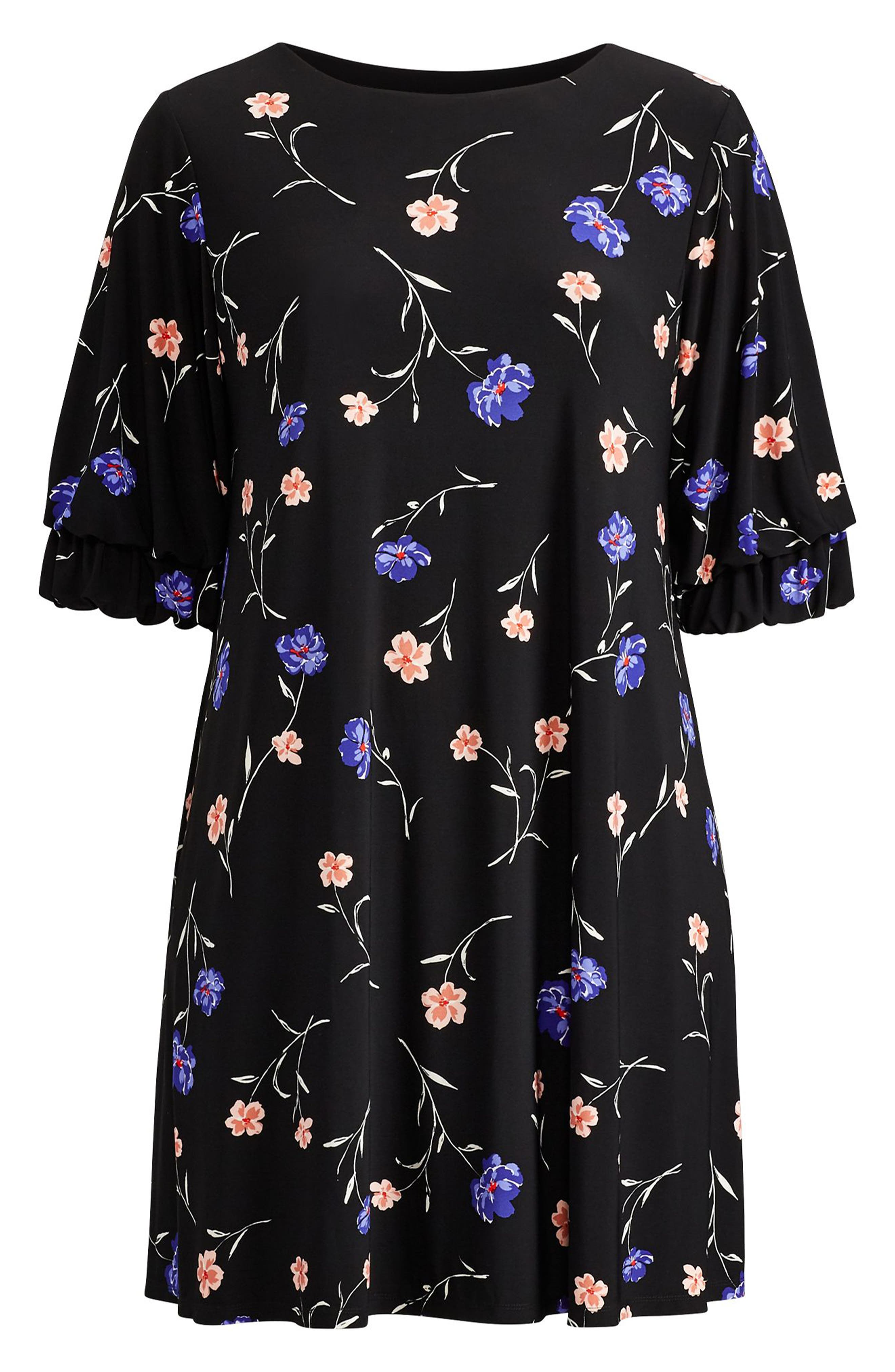 Ruffle Sleeve Floral Print Dress,                             Alternate thumbnail 3, color,                             Black-Blue-Multi