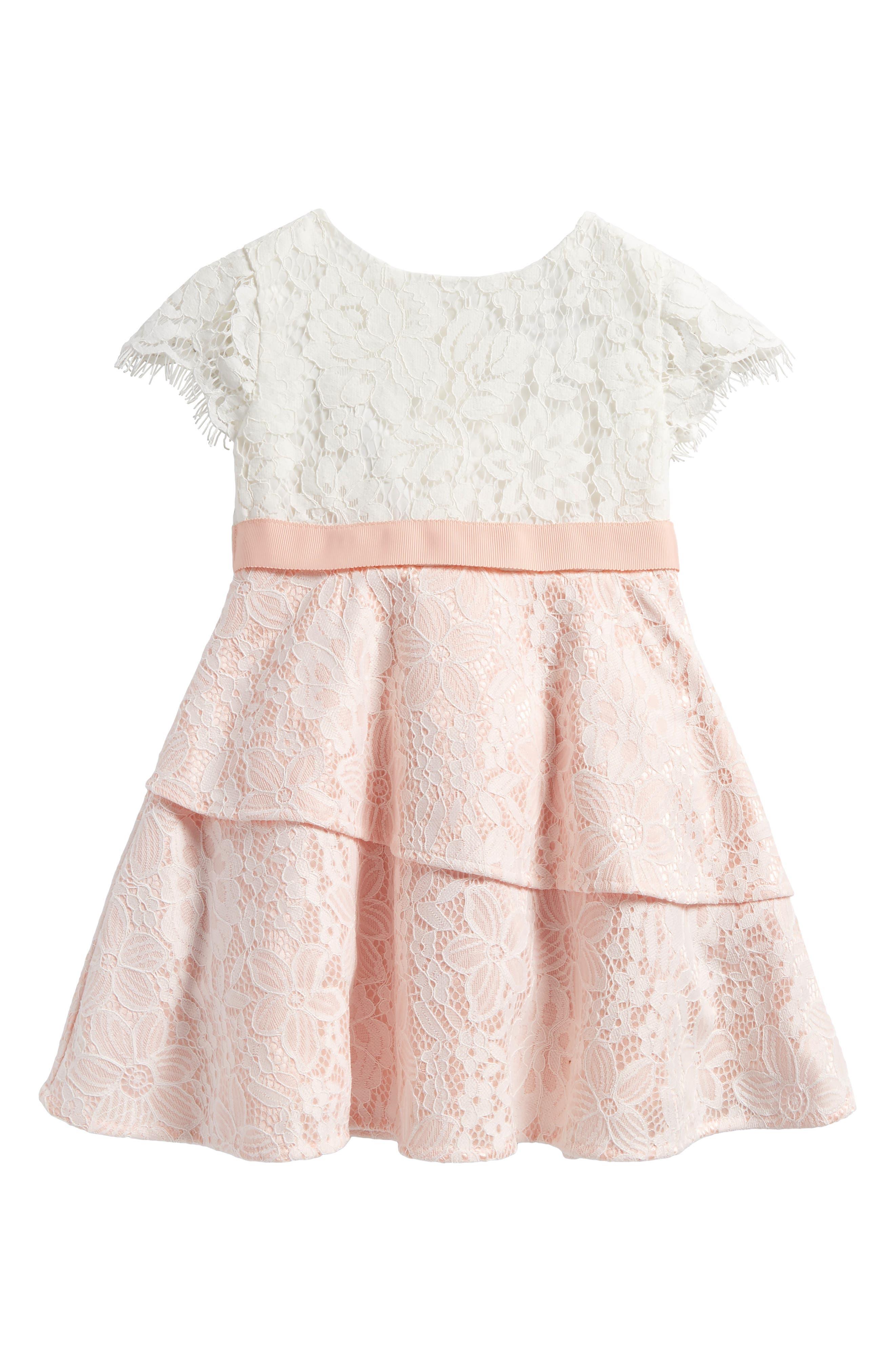 Cap Sleeve Lace Dress,                             Main thumbnail 1, color,                             Rosewater