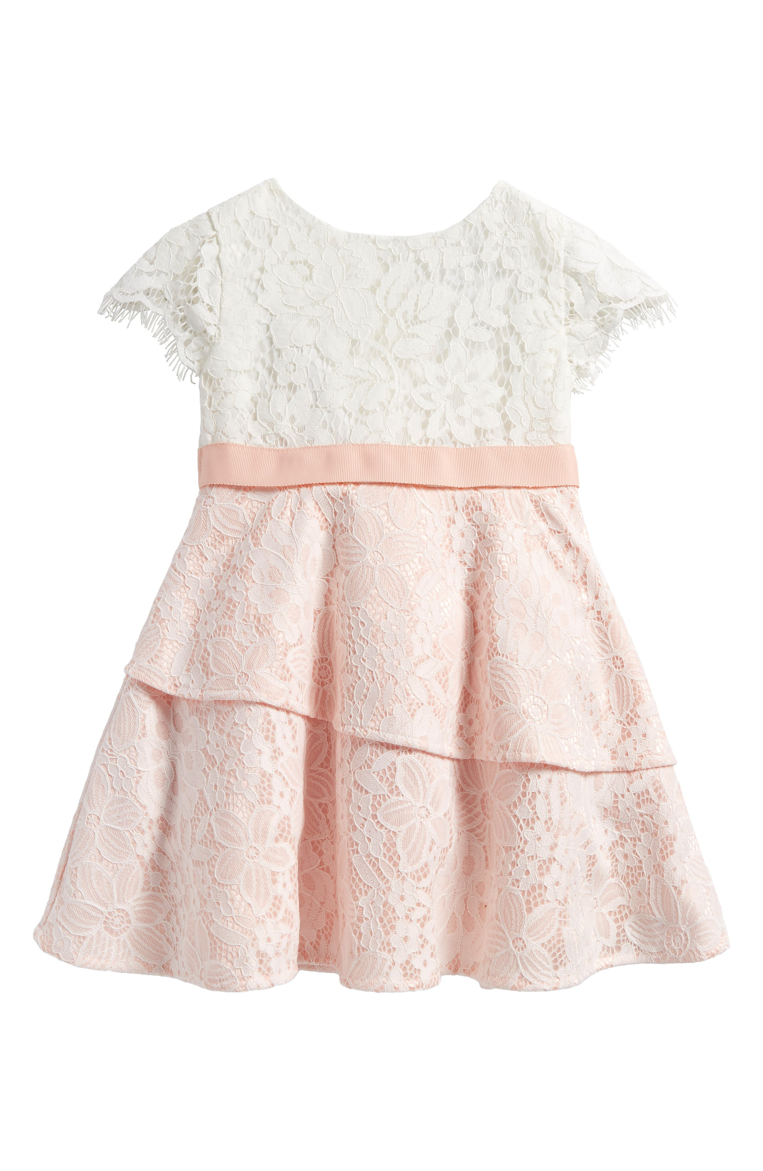 Cap Sleeve Lace Dress,                         Main,                         color, Rosewater