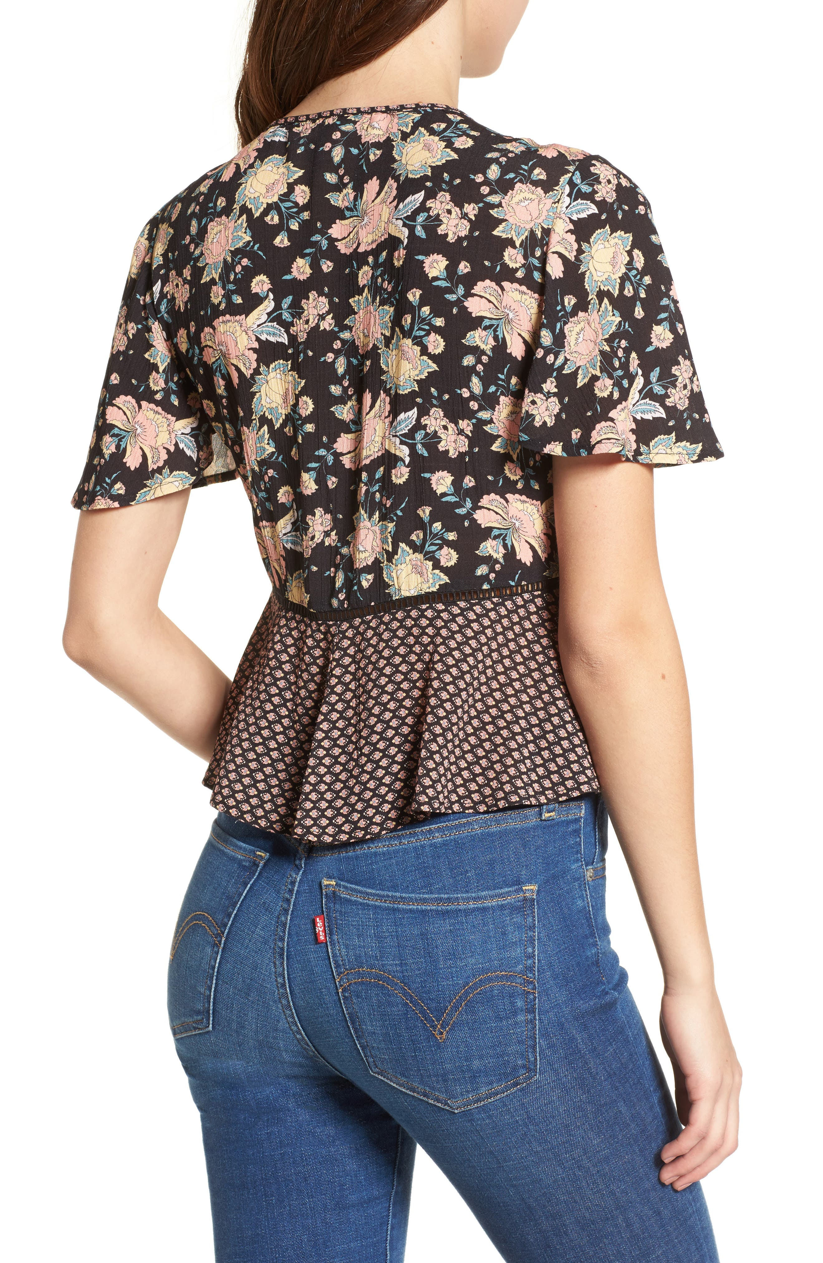 Alternate Image 2  - Band of Gypsies Mix Print Tie Front Top