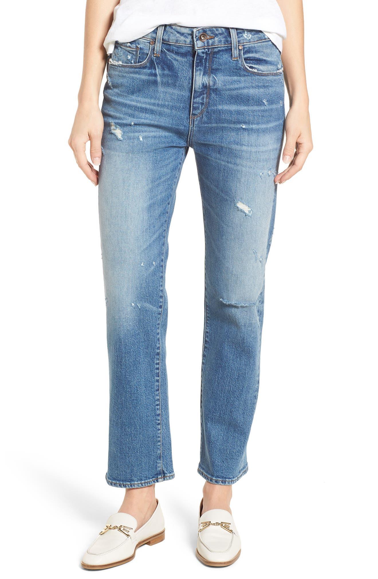 Transcend Vintage - Noella Straight Leg Jeans,                             Main thumbnail 1, color,                             Iola