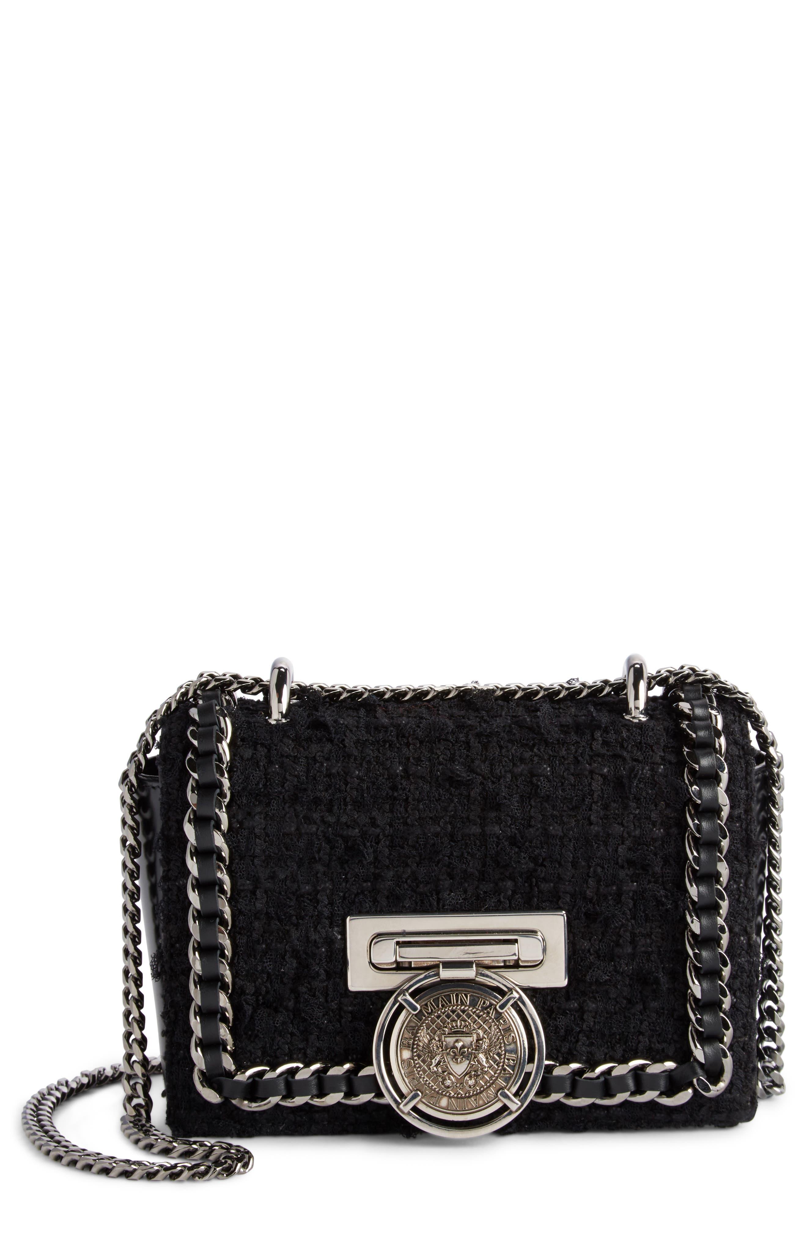 Balmain Baby Box Tweed Shoulder Bag