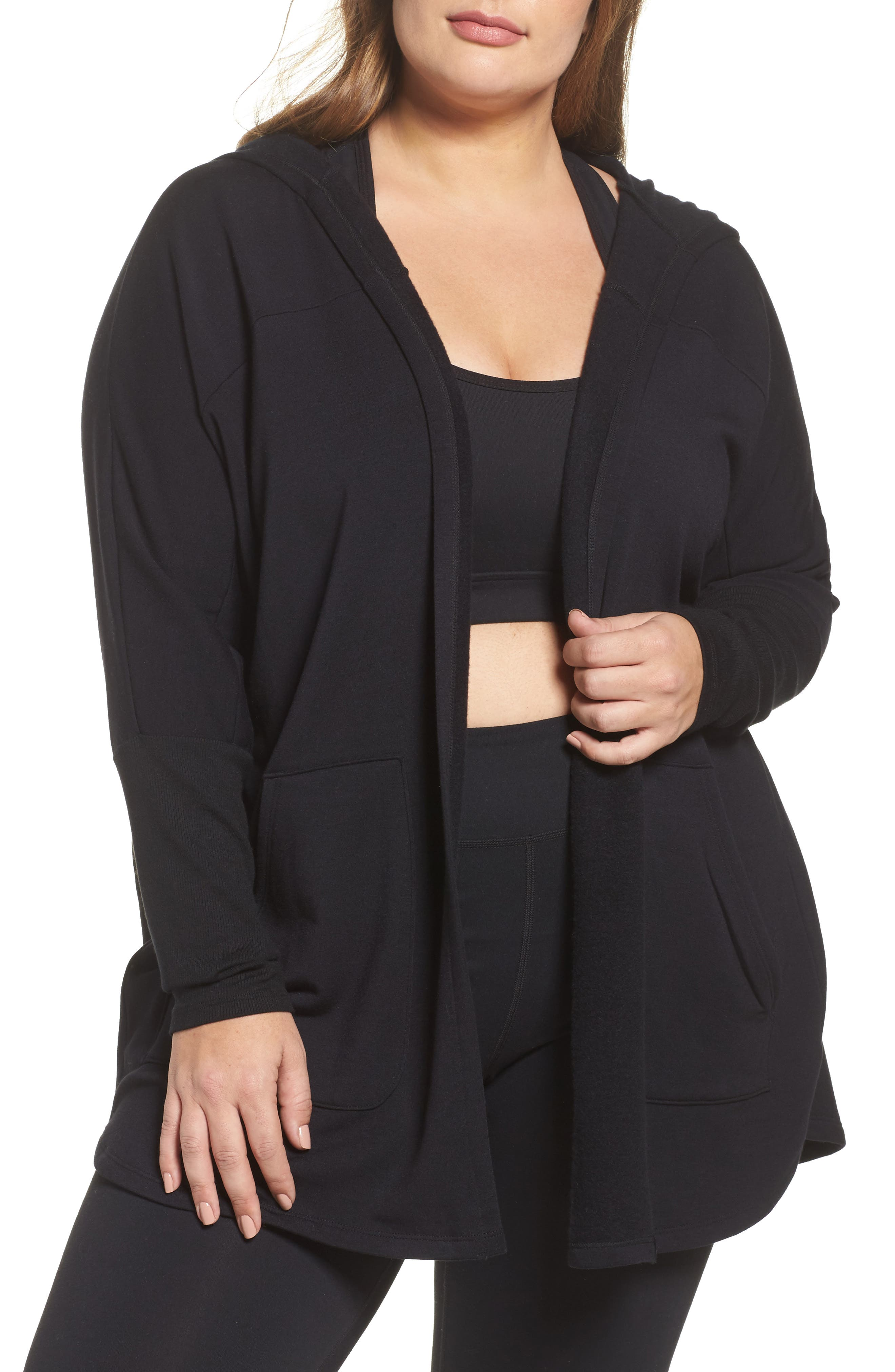 Main Image - Beyond Yoga Love & Fleece Split-Back Hooded Cardigan (Plus Size)