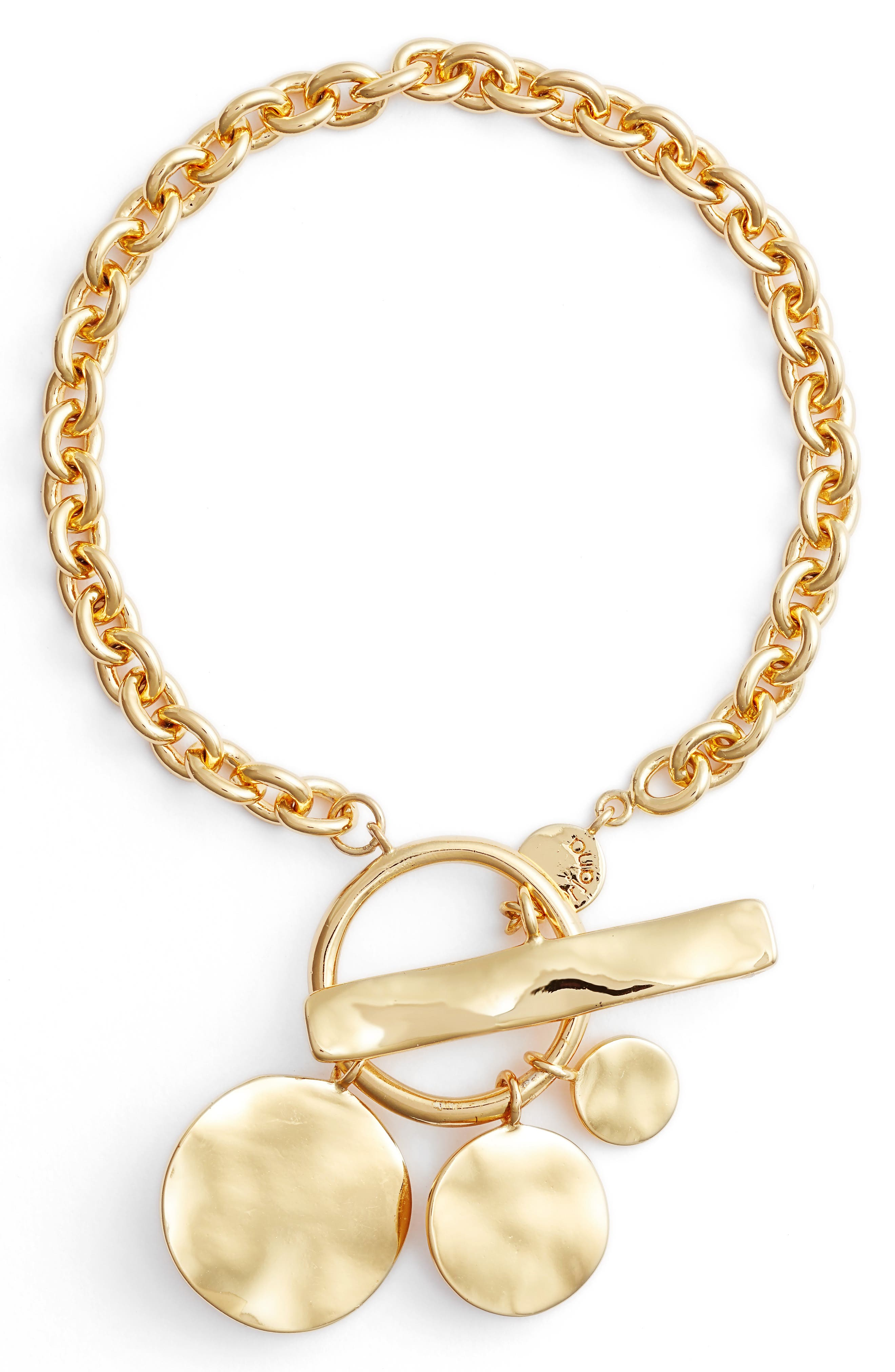 Chloe Hammered Disc Toggle Bracelet,                             Main thumbnail 1, color,                             Gold