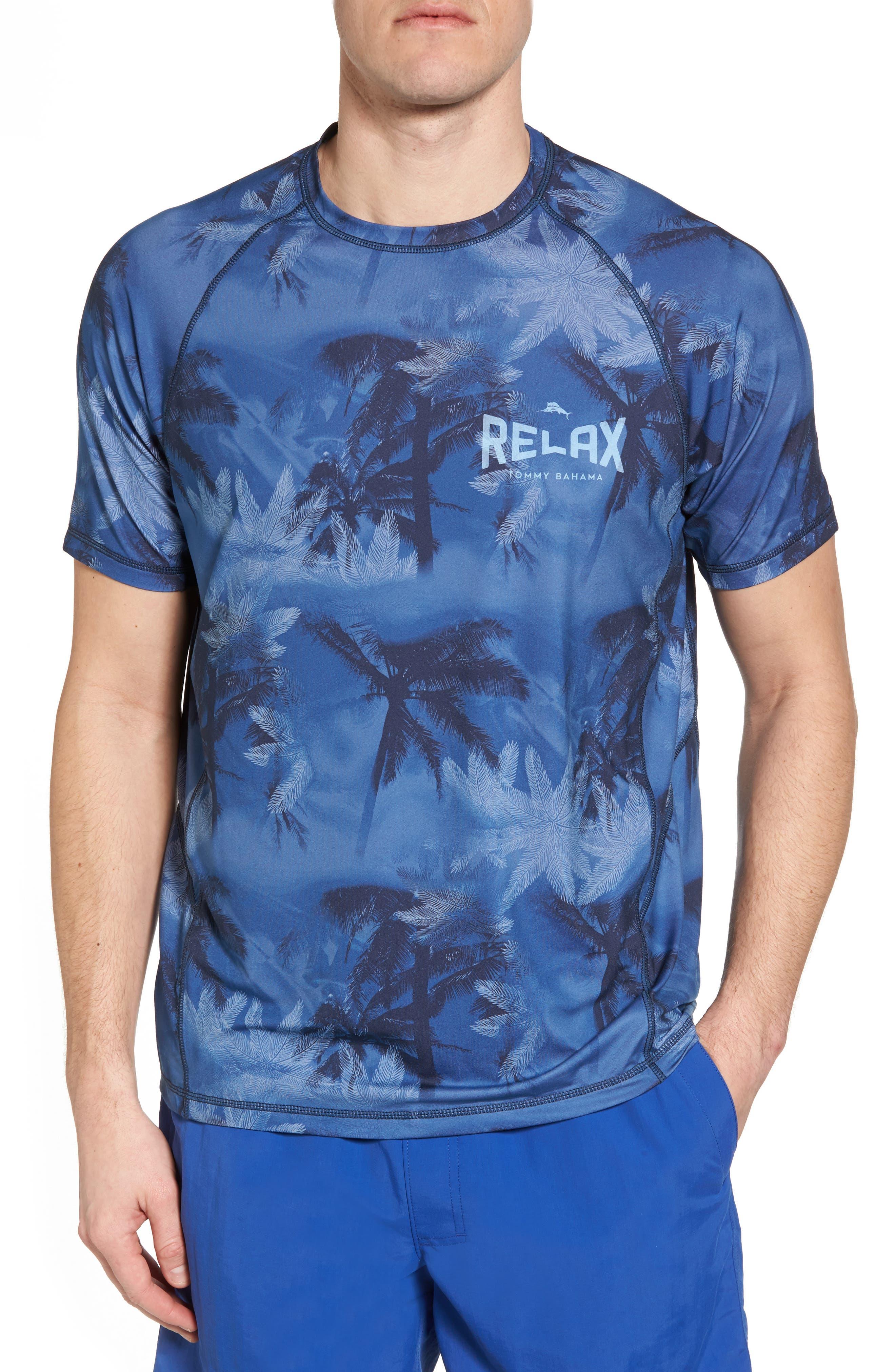 Tropic Haze Print Performance T-Shirt,                             Main thumbnail 1, color,                             Atlantic