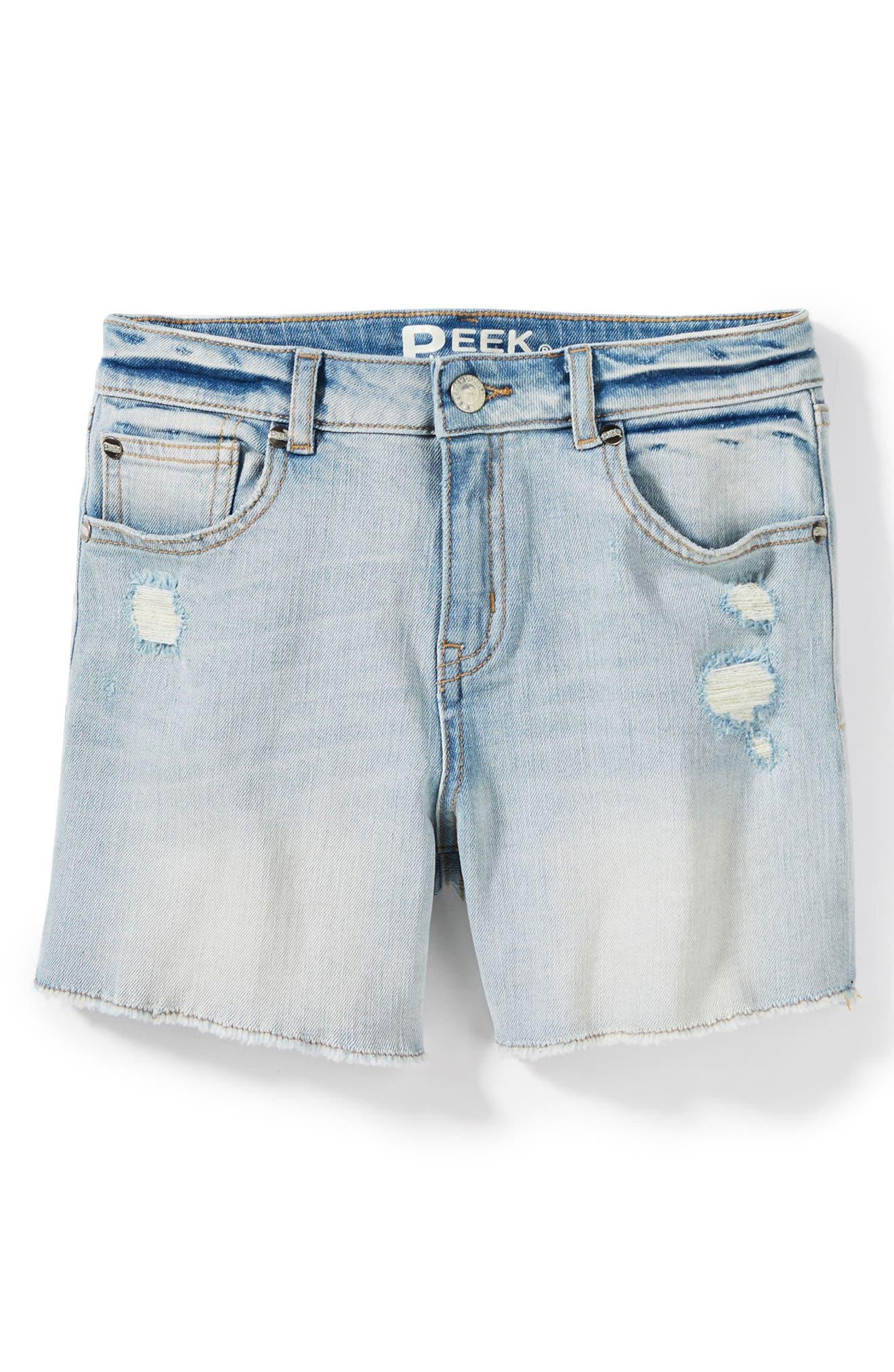 Griffin Rip & Repair Cutoff Denim Shorts,                         Main,                         color, Bleach