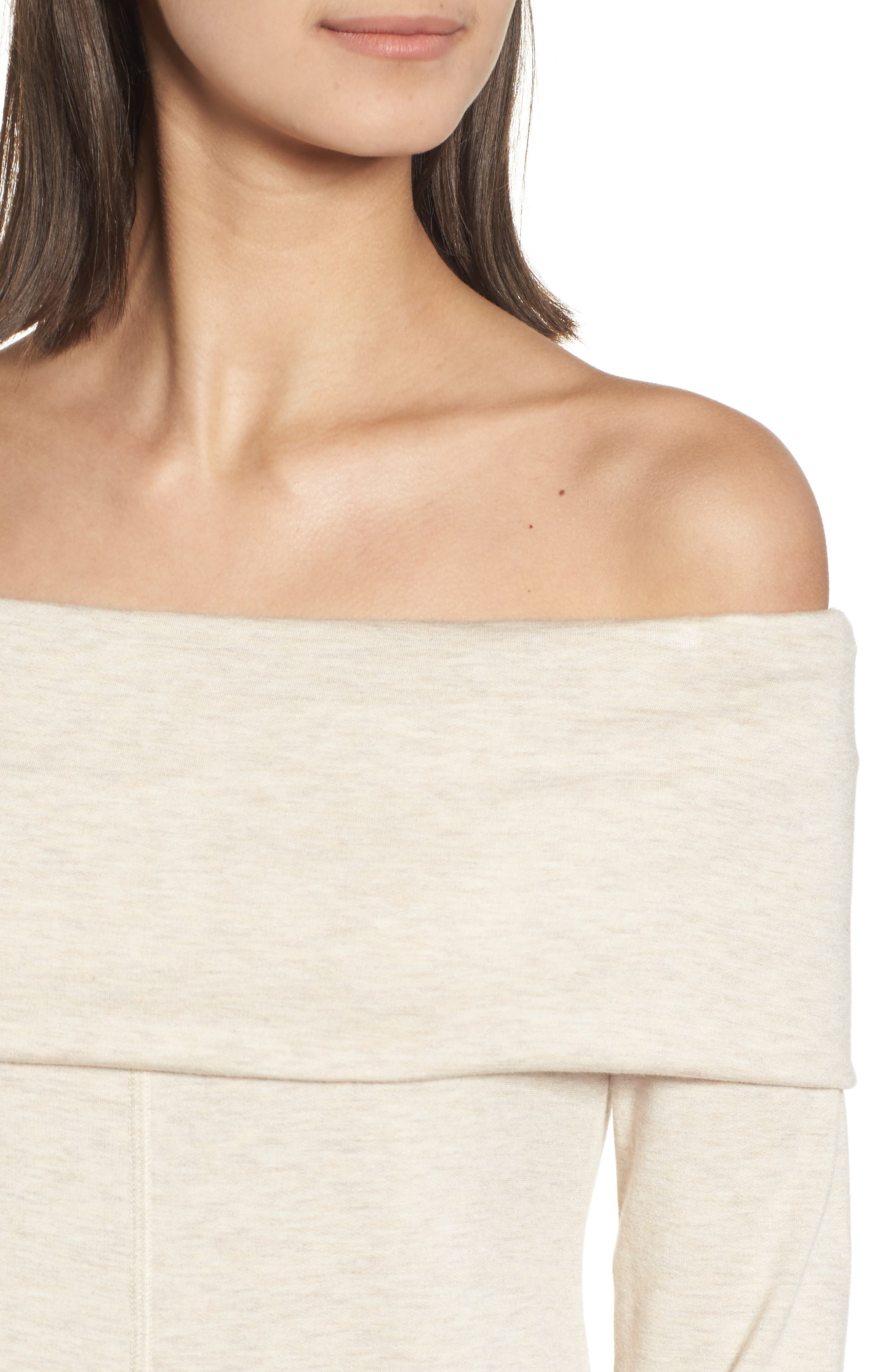 Foldover Off the Shoulder Top,                             Alternate thumbnail 4, color,                             Oatmeal