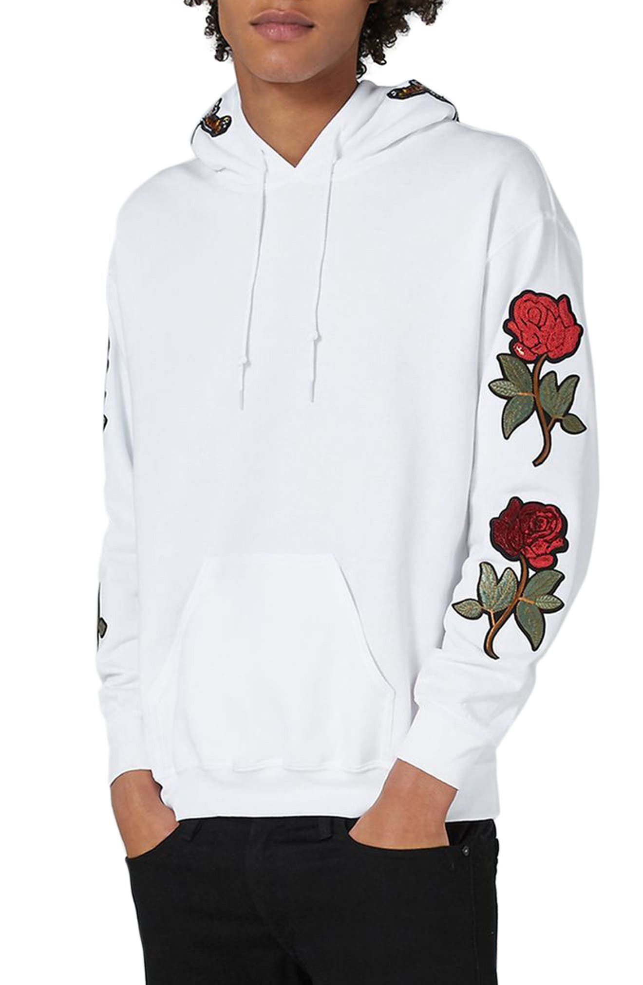 Embroidered Appliqué Hoodie,                             Main thumbnail 1, color,                             White Multi
